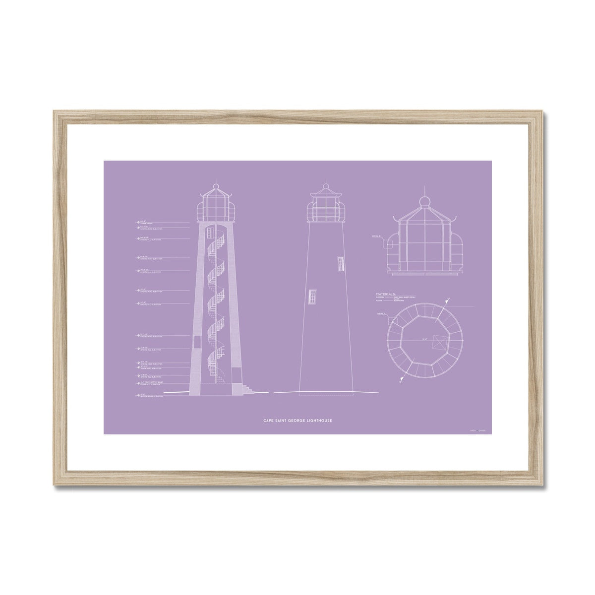 Fort Jefferson - Tortugas Harbor Lighthouse - Cross Section - Lavender -  Framed & Mounted Print