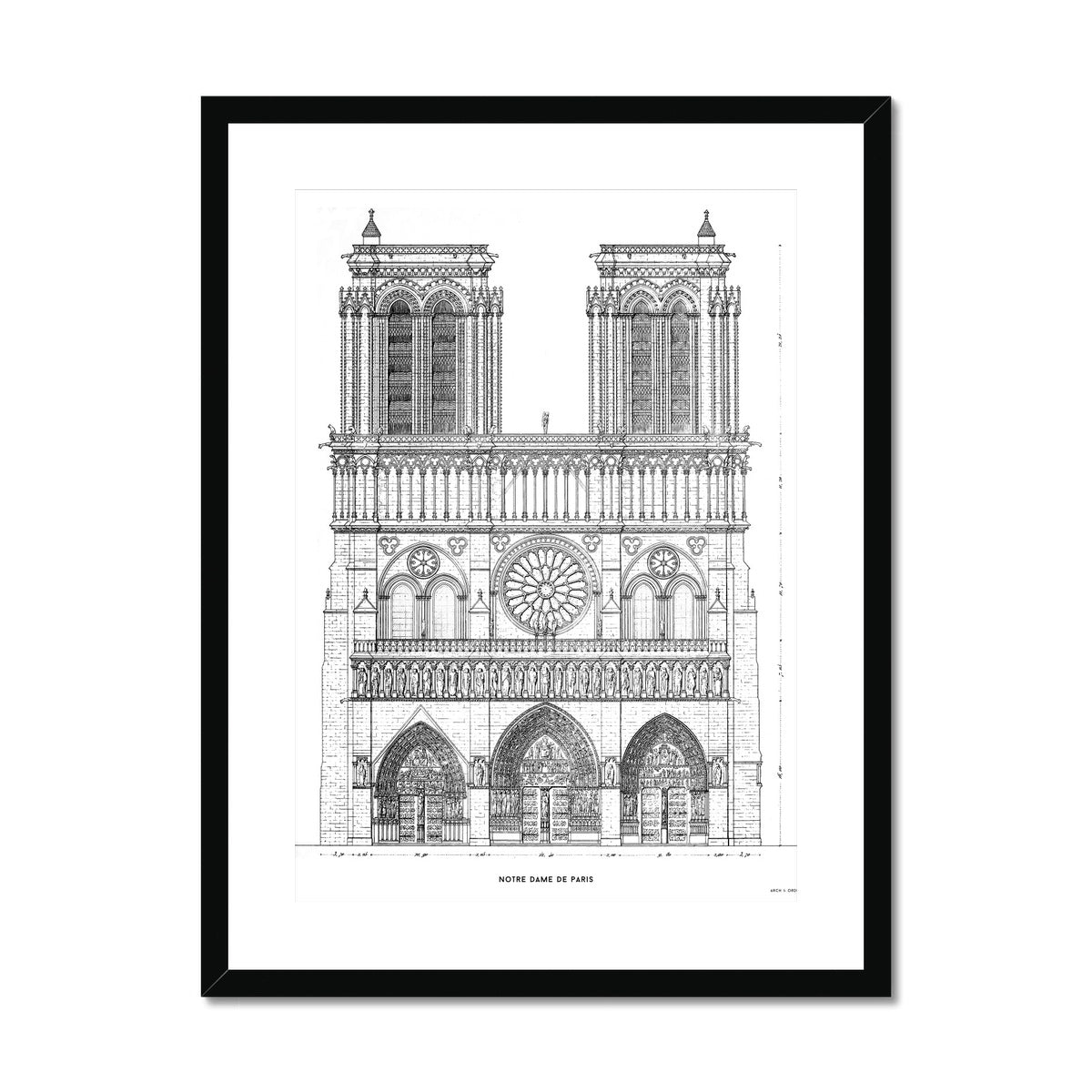 Notre Dame de Paris - Principal Elevation - White -  Framed & Mounted Print