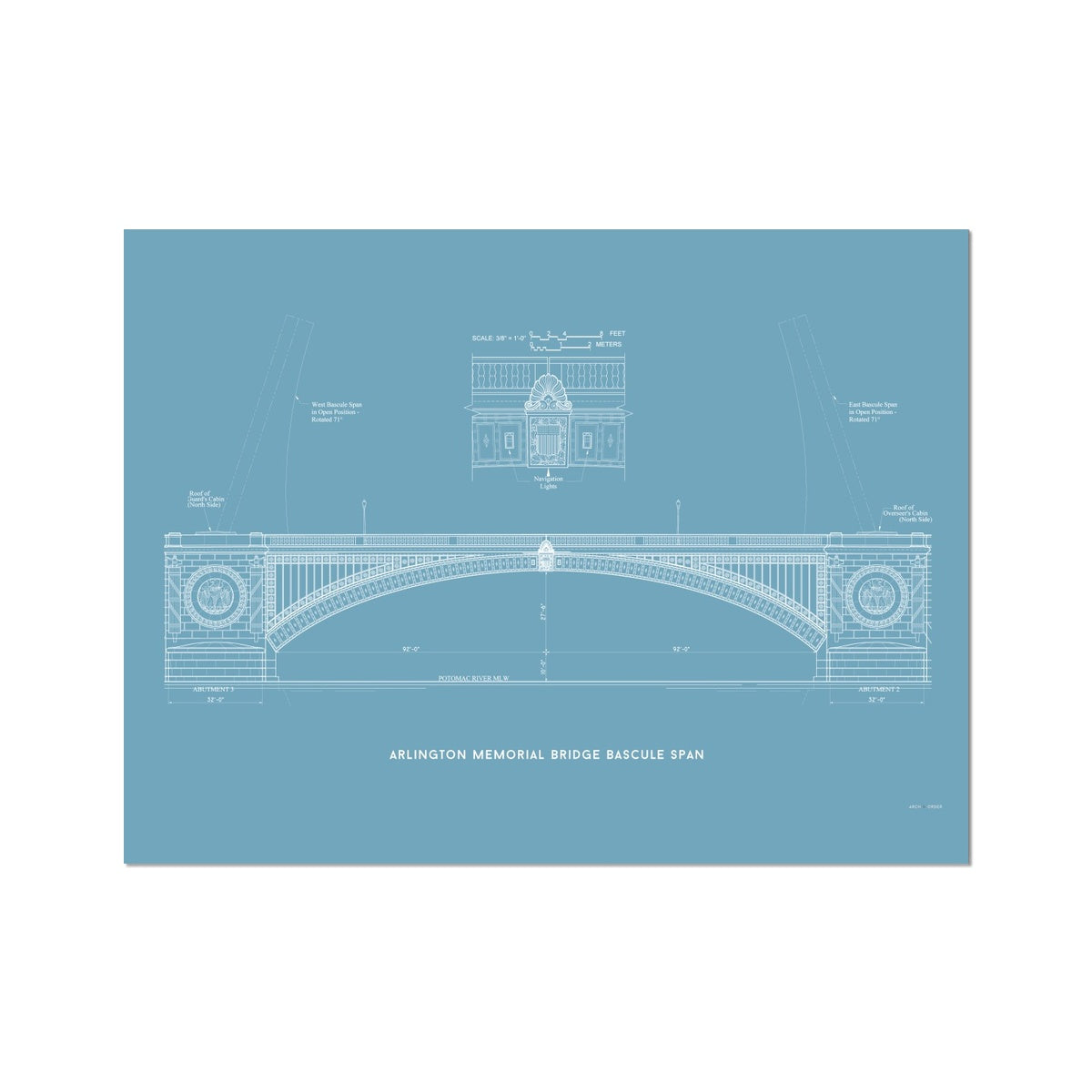 The Arlington Memorial Bridge - Bascule Span - Blue -  Etching Paper Print