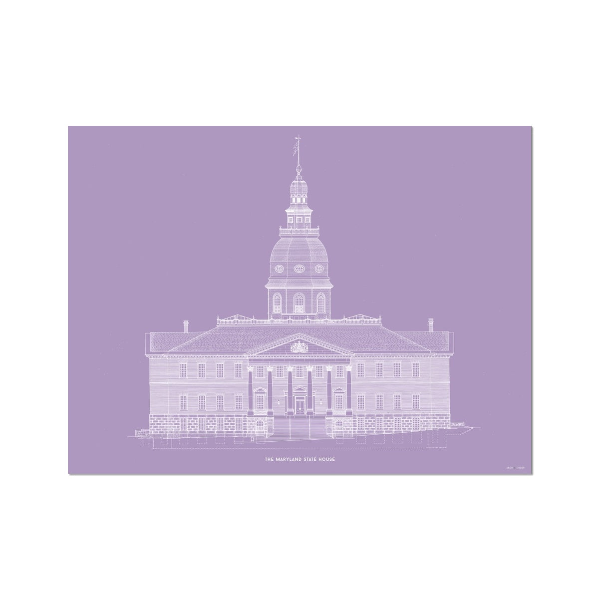 The Maryland State House - Northwest Elevation - Lavender -  Etching Paper Print