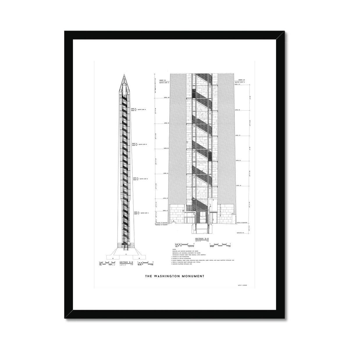 The Washington Monument Cross Section - White -  Framed & Mounted Print