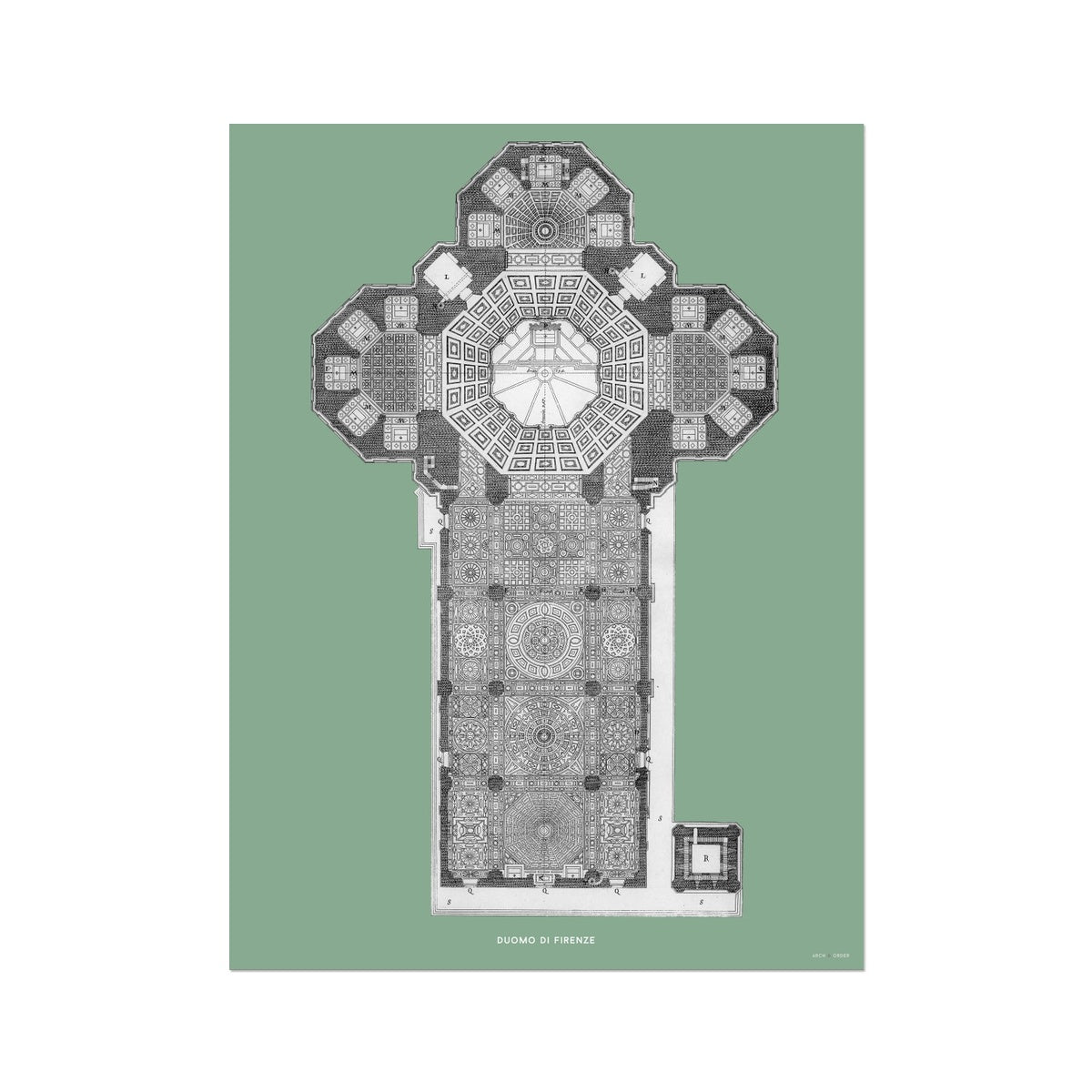 Duomo di Firenze - Floor Plan - Green -  Etching Paper Print