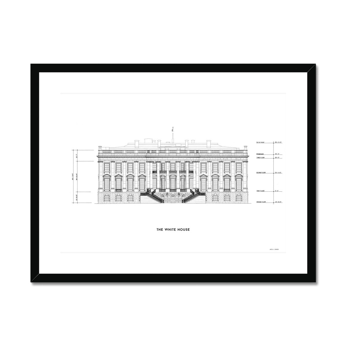 The White House South Elevation - White -  Framed & Mounted Print