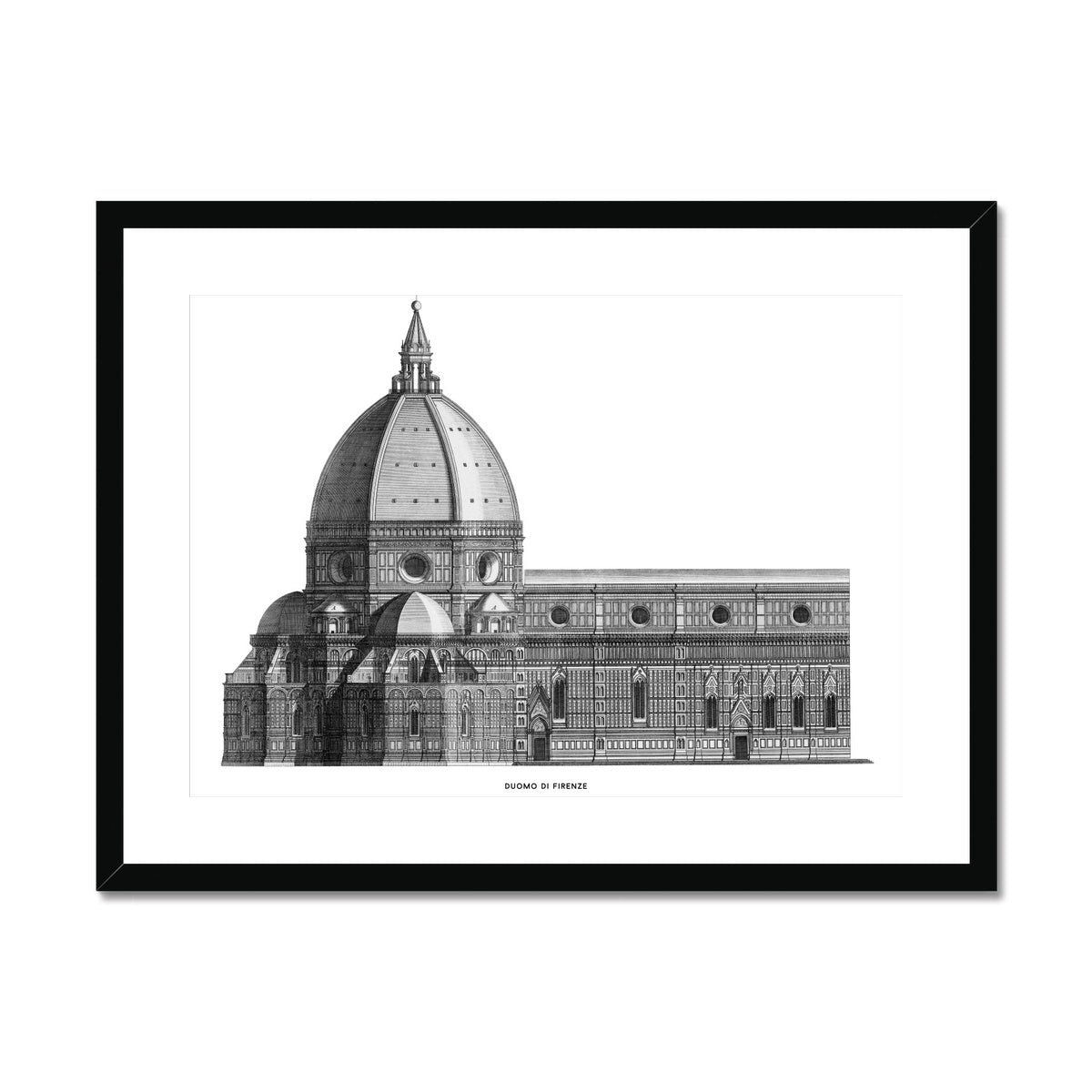 Duomo di Firenze - Transverse Elevation - White -  Framed & Mounted Print