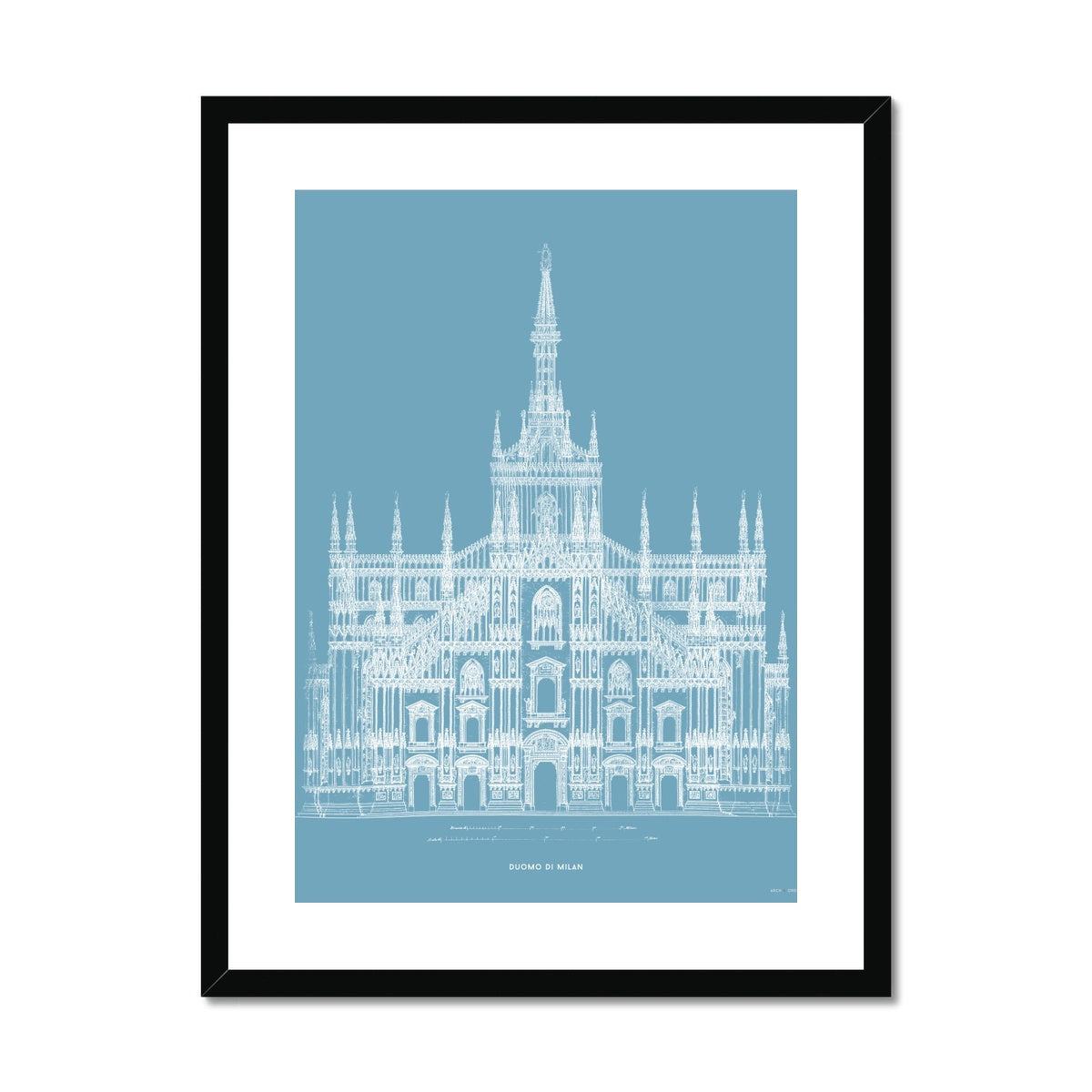The Milan Cathedral - Alternative Primary Elevation - Blue -  Framed & Mounted Print