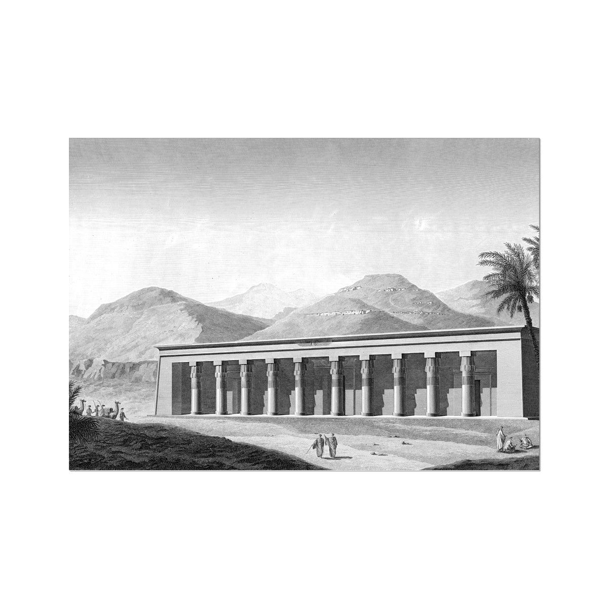 View of the Palace - Qournah - Thebes Egypt -  Etching Paper Print