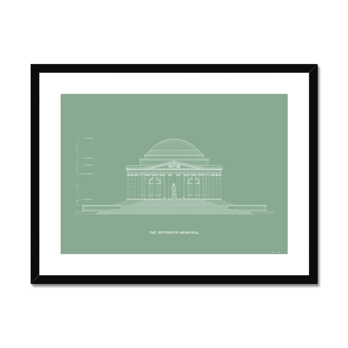 The Jefferson Memorial North Elevation - Green -  Framed & Mounted Print