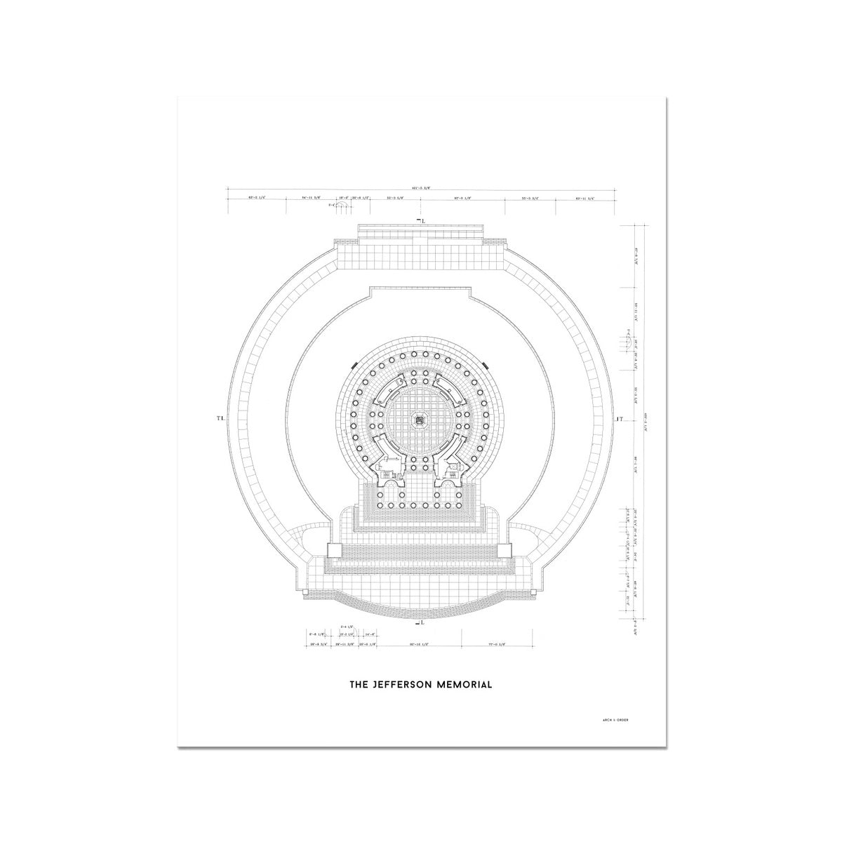 Jefferson Memorial Main Level Plan - White -  Etching Paper Print