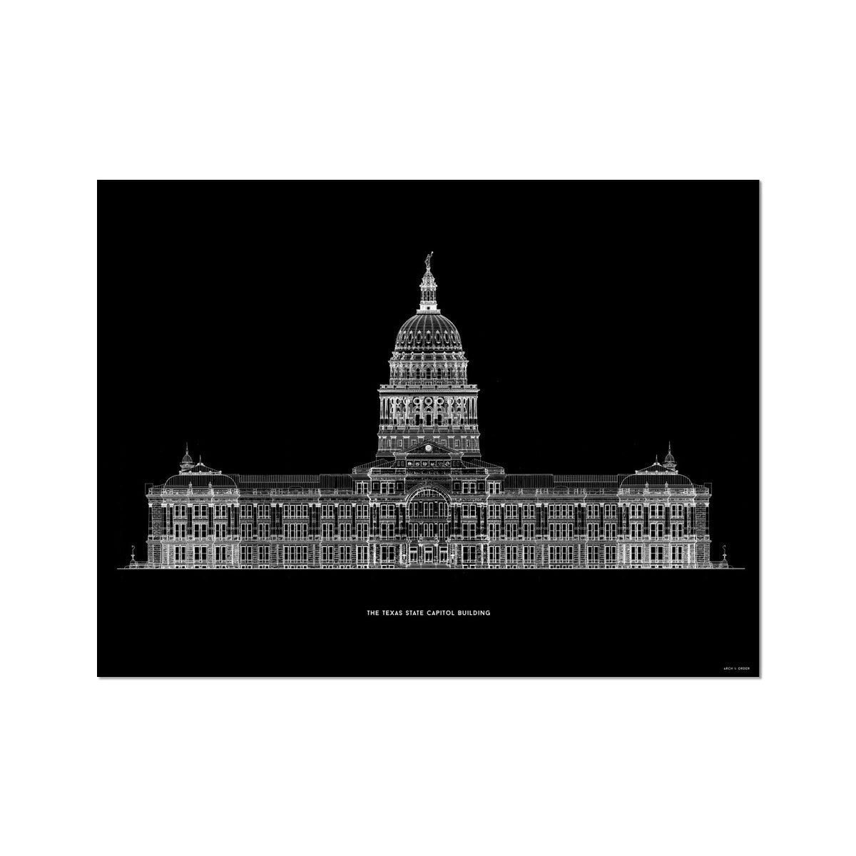 The Texas State Capitol Building - South Elevation - Black -  Etching Paper Print