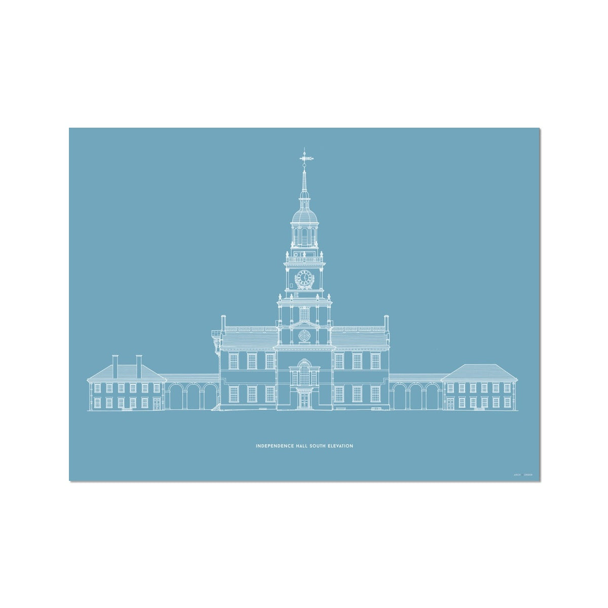 Independence Hall - South Elevation - Blue -  Etching Paper Print
