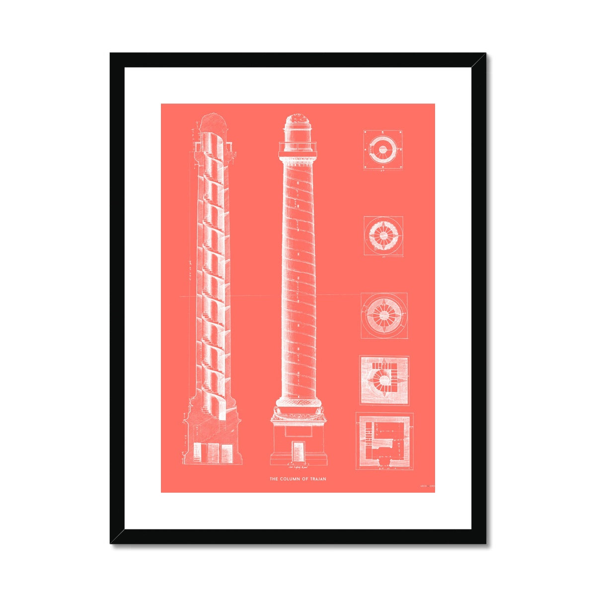 The Column of Trajan - Red -  Framed & Mounted Print