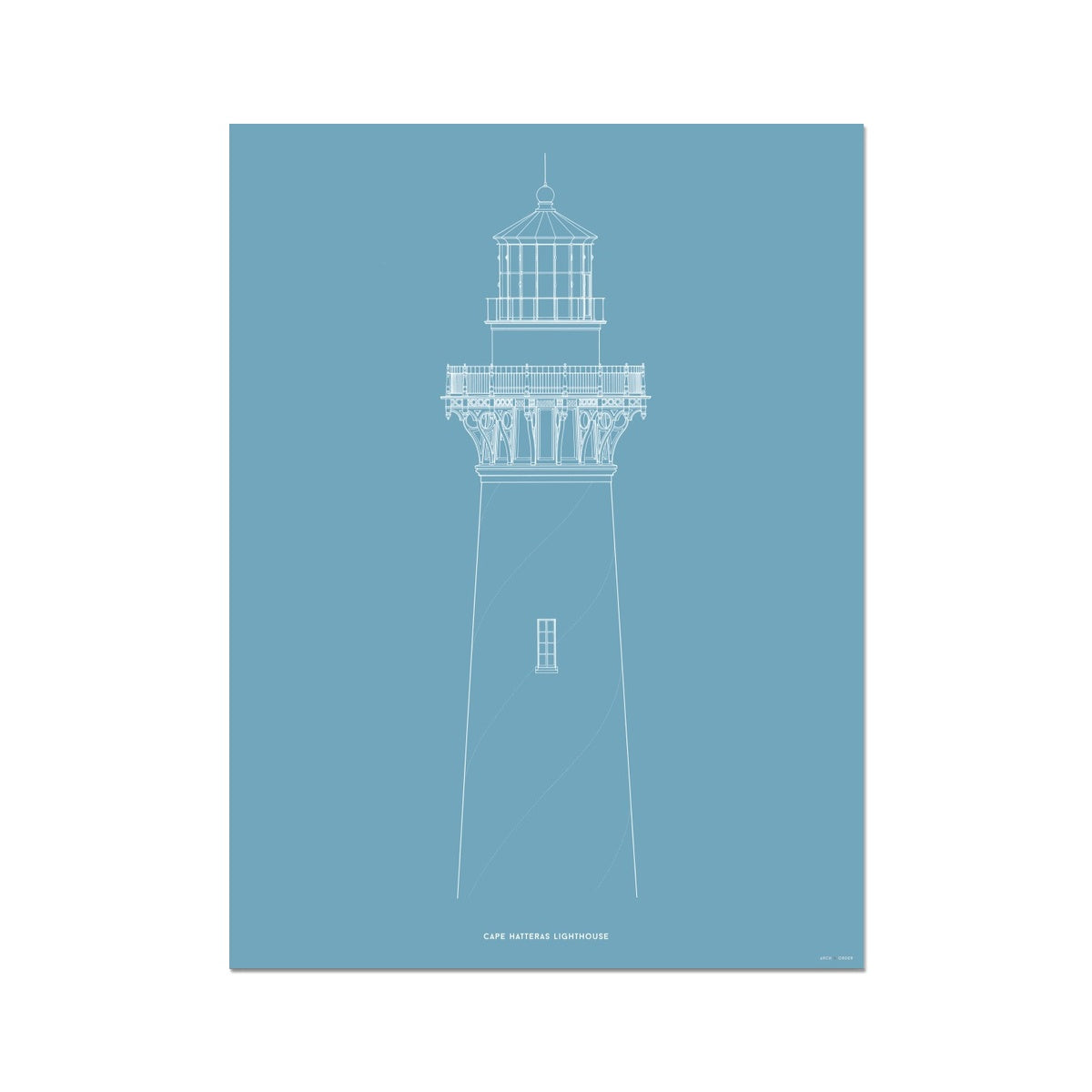 Cape Hatteras Lighthouse - North Elevation Detail - Blue -  Etching Paper Print