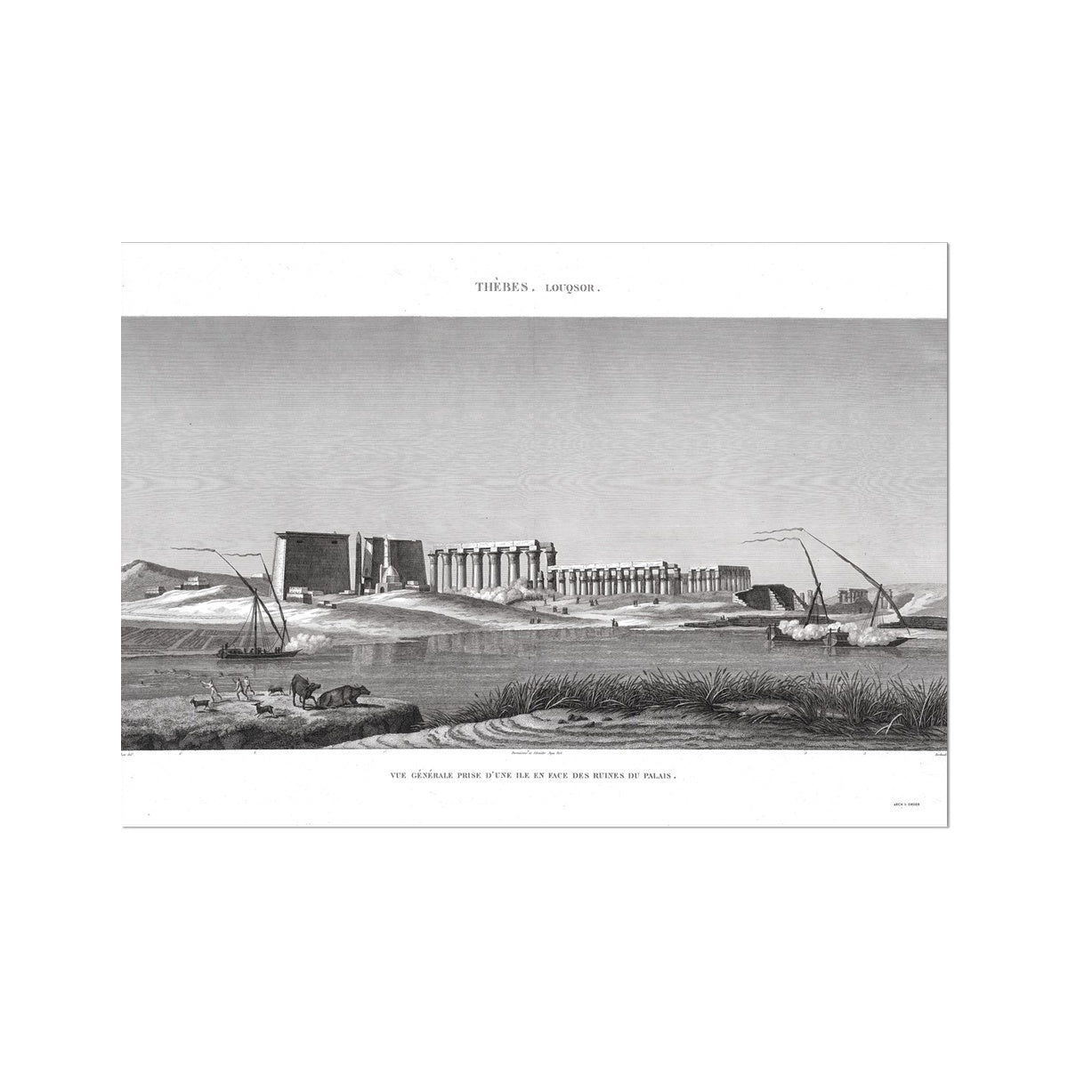 View of the Palace Ruins - Luxor - Thebes Egypt -  Etching Paper Print