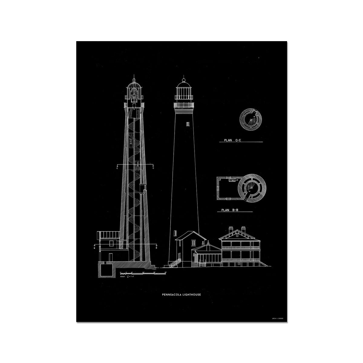 The Pensacola Lighthouse - West Elevation and Cross Section - Black - German Etching Print