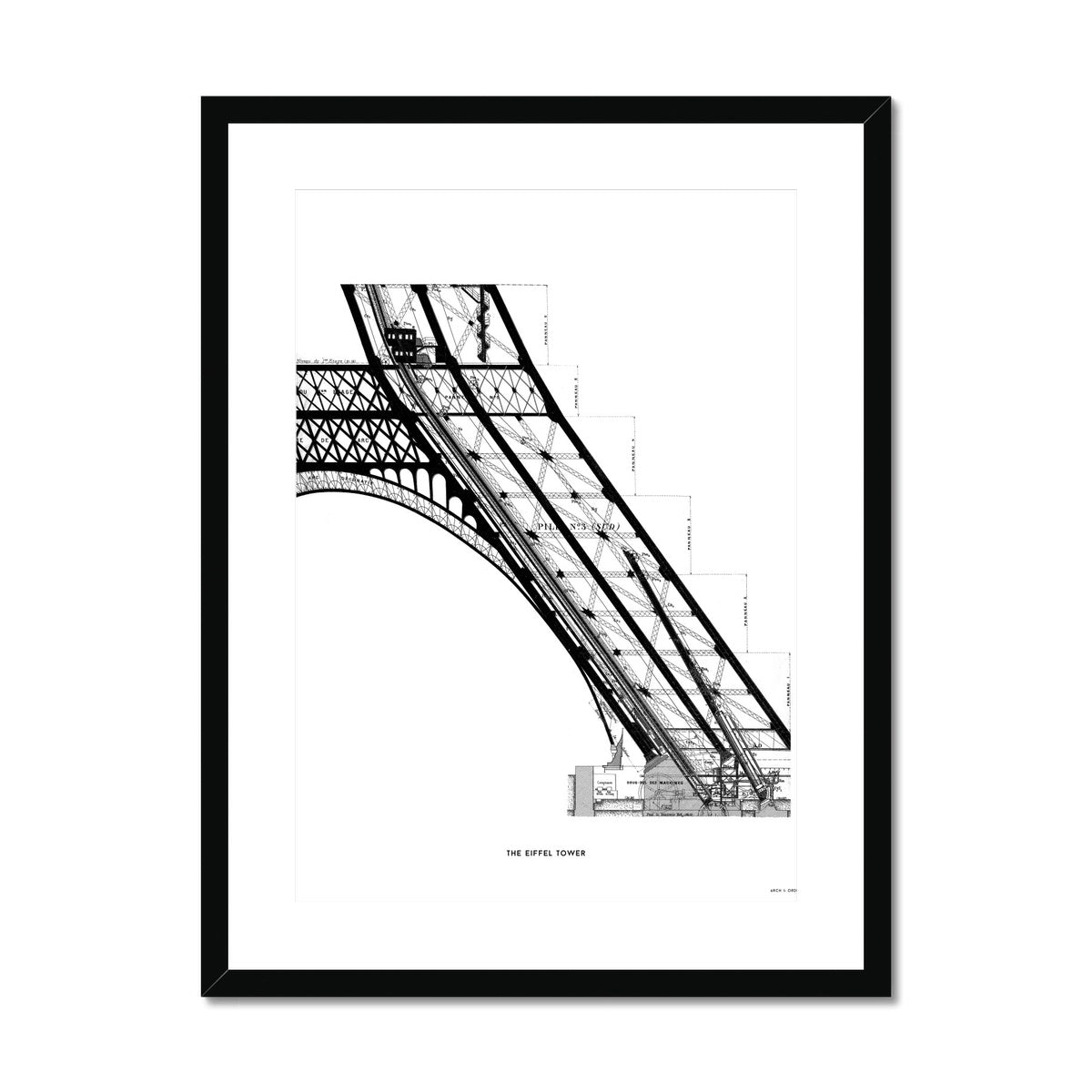 The Eiffel Tower - Base Elevator Section - White -  Framed & Mounted Print