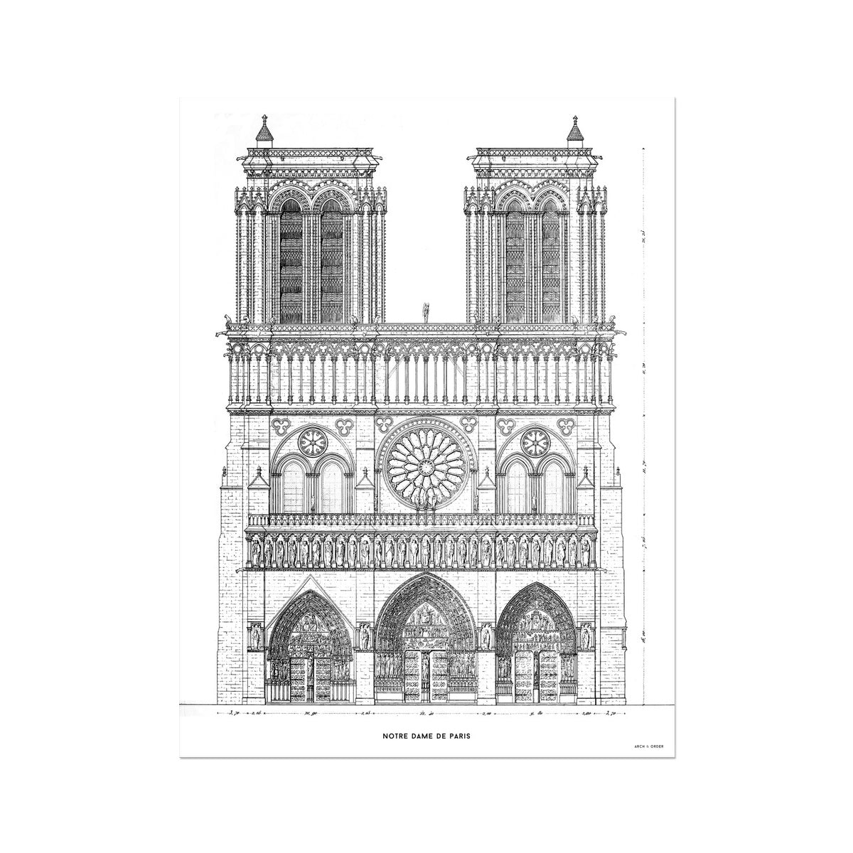 Notre Dame de Paris - Principal Elevation - White -  Etching Paper Print