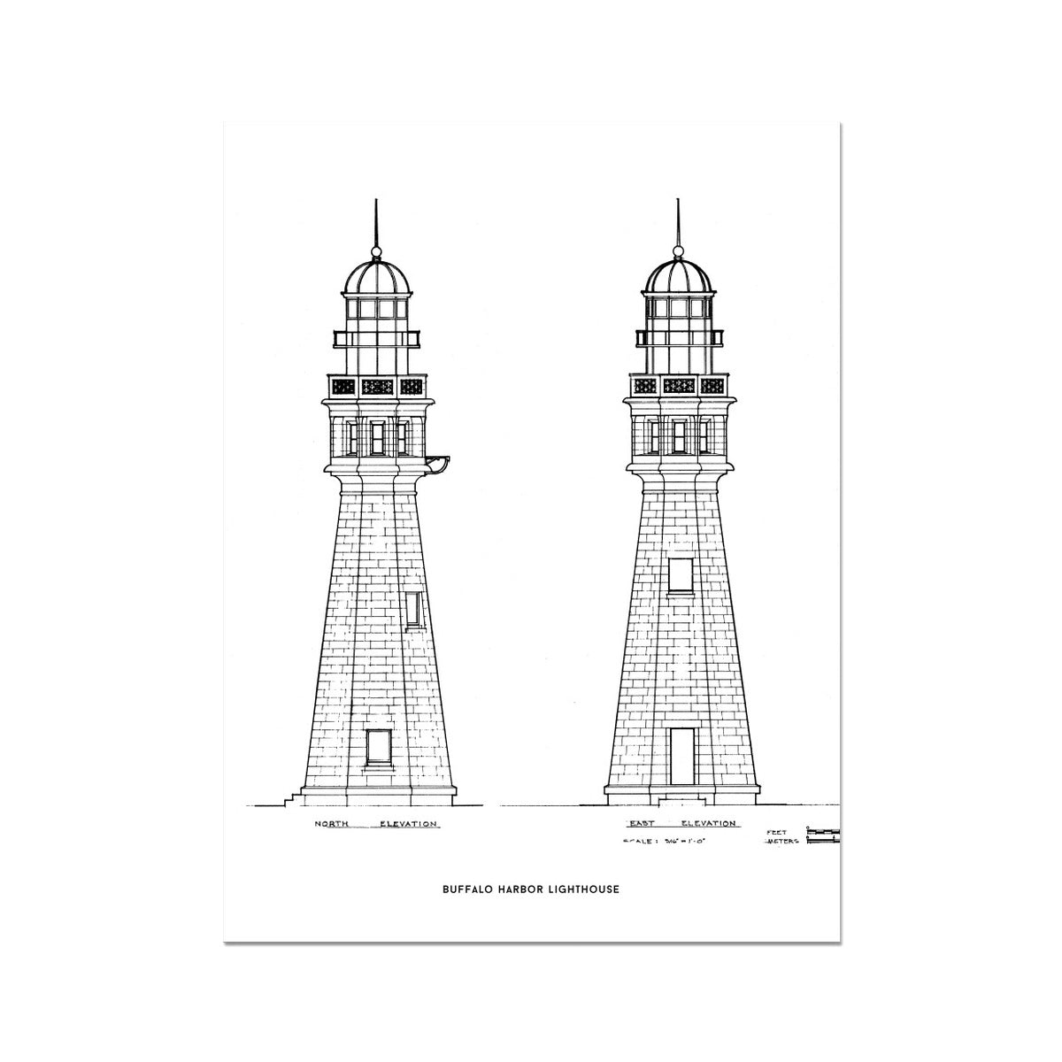 Buffalo Harbor Lighthouse - North and East Elevations - White -  Etching Paper Print