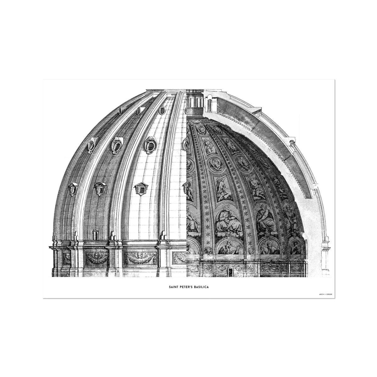 Saint Peter's Basilica - Dome Cross Section - White -  Etching Paper Print
