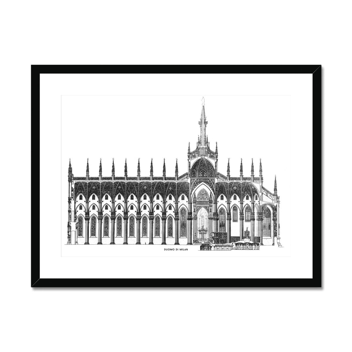The Milan Cathedral - Side Elevation Cross Section - White -  Framed & Mounted Print