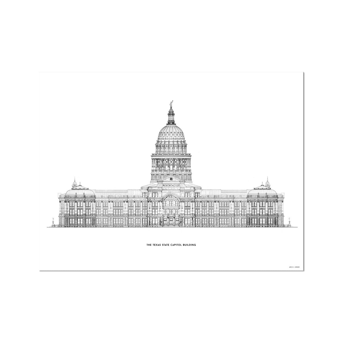 The Texas State Capitol Building - South Elevation - White -  Etching Paper Print
