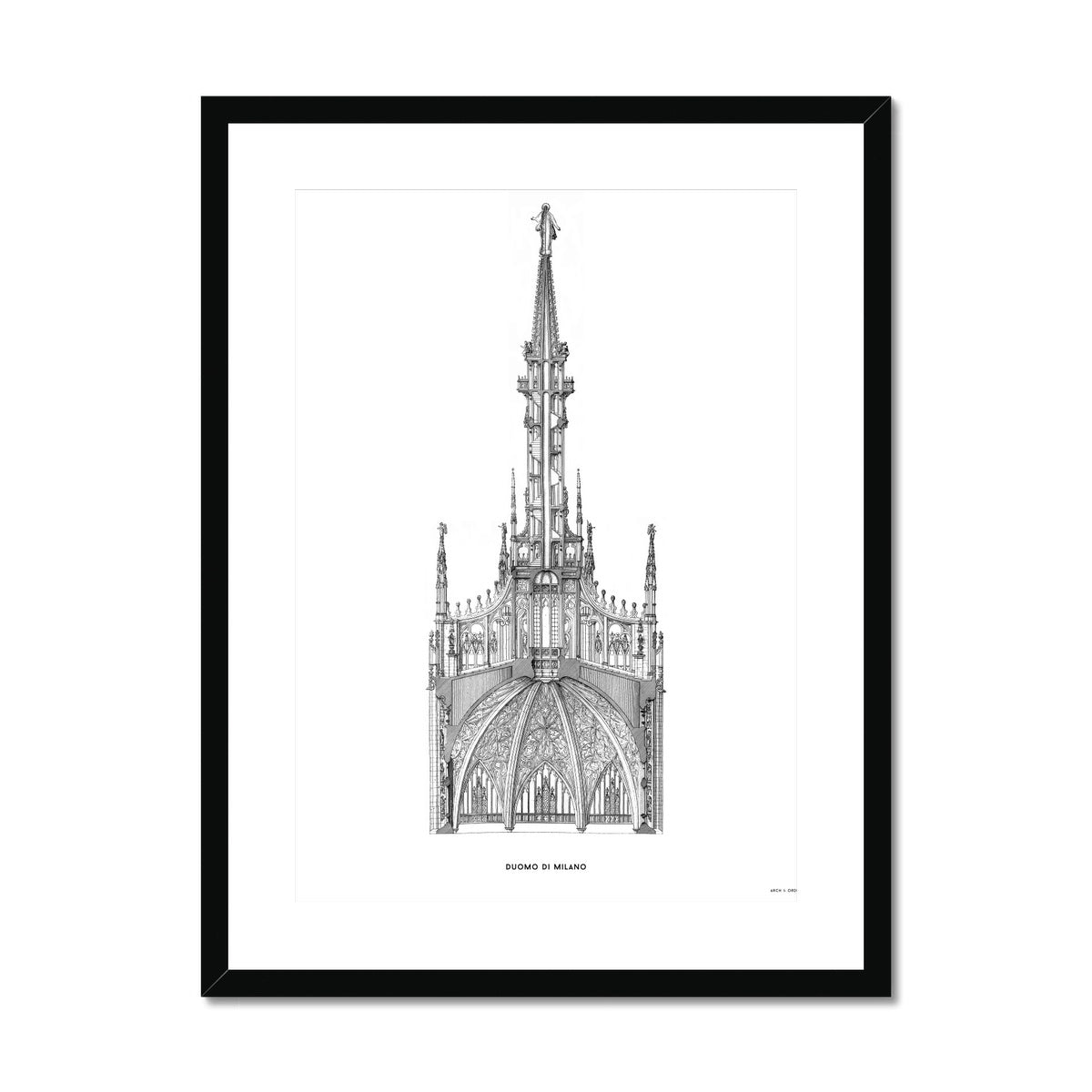 The Milan Cathedral - Detail Cross Section - White -  Framed & Mounted Print