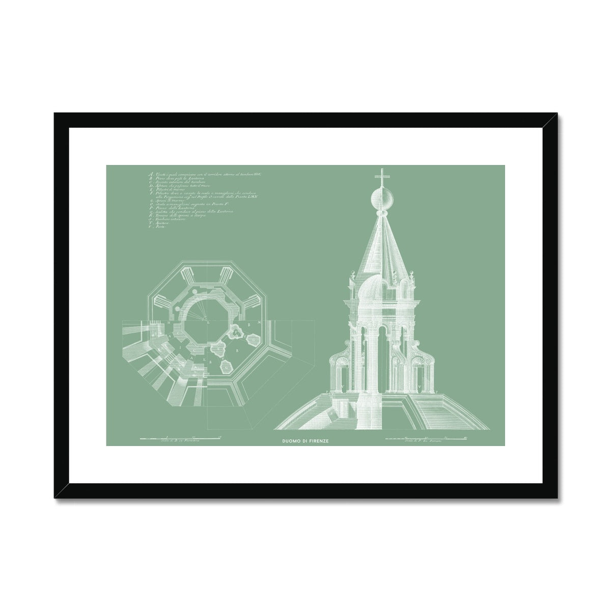 Duomo di Firenze - Lantern Detail - Green -  Framed & Mounted Print