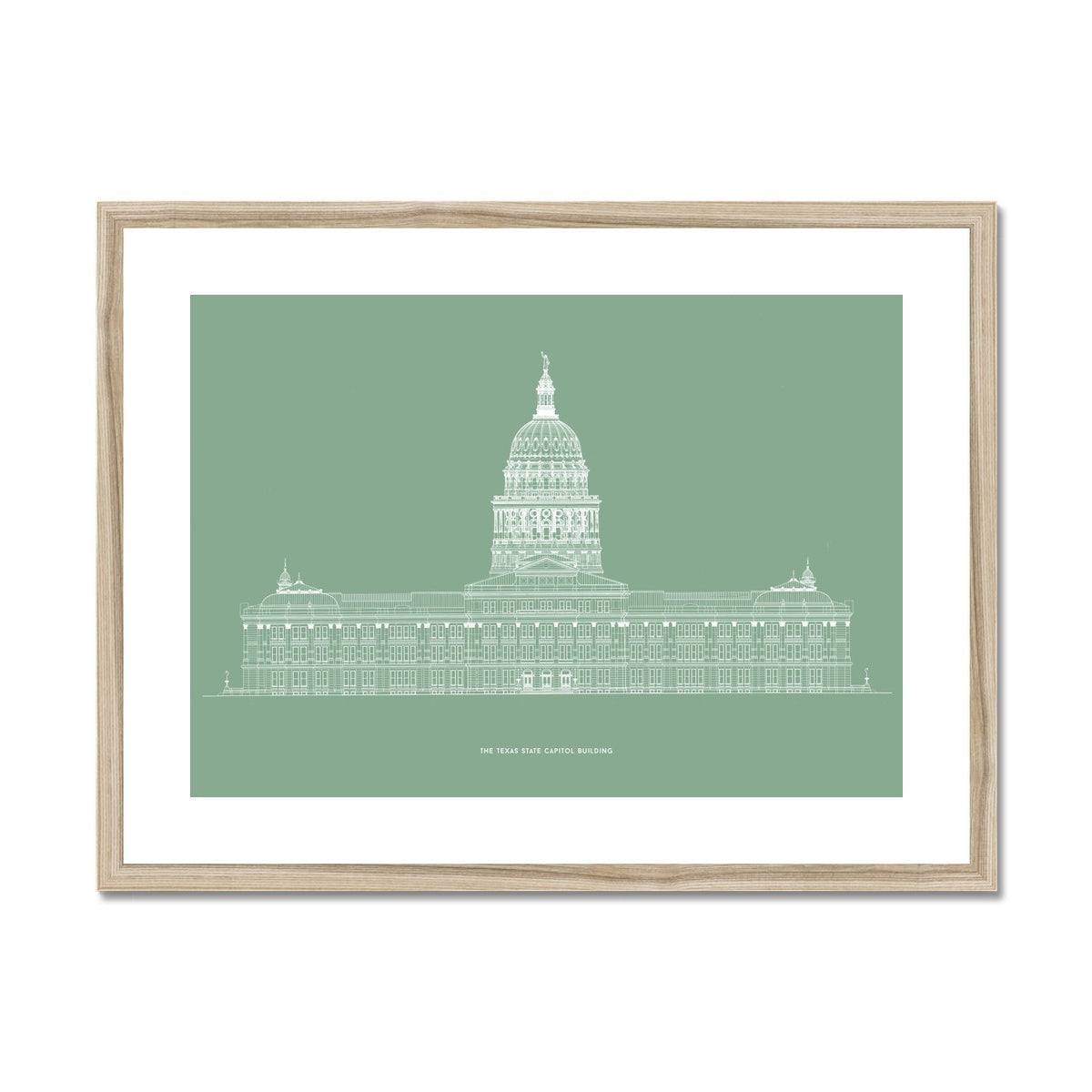 The Texas State Capitol Building - North Elevation - Green -  Framed & Mounted Print