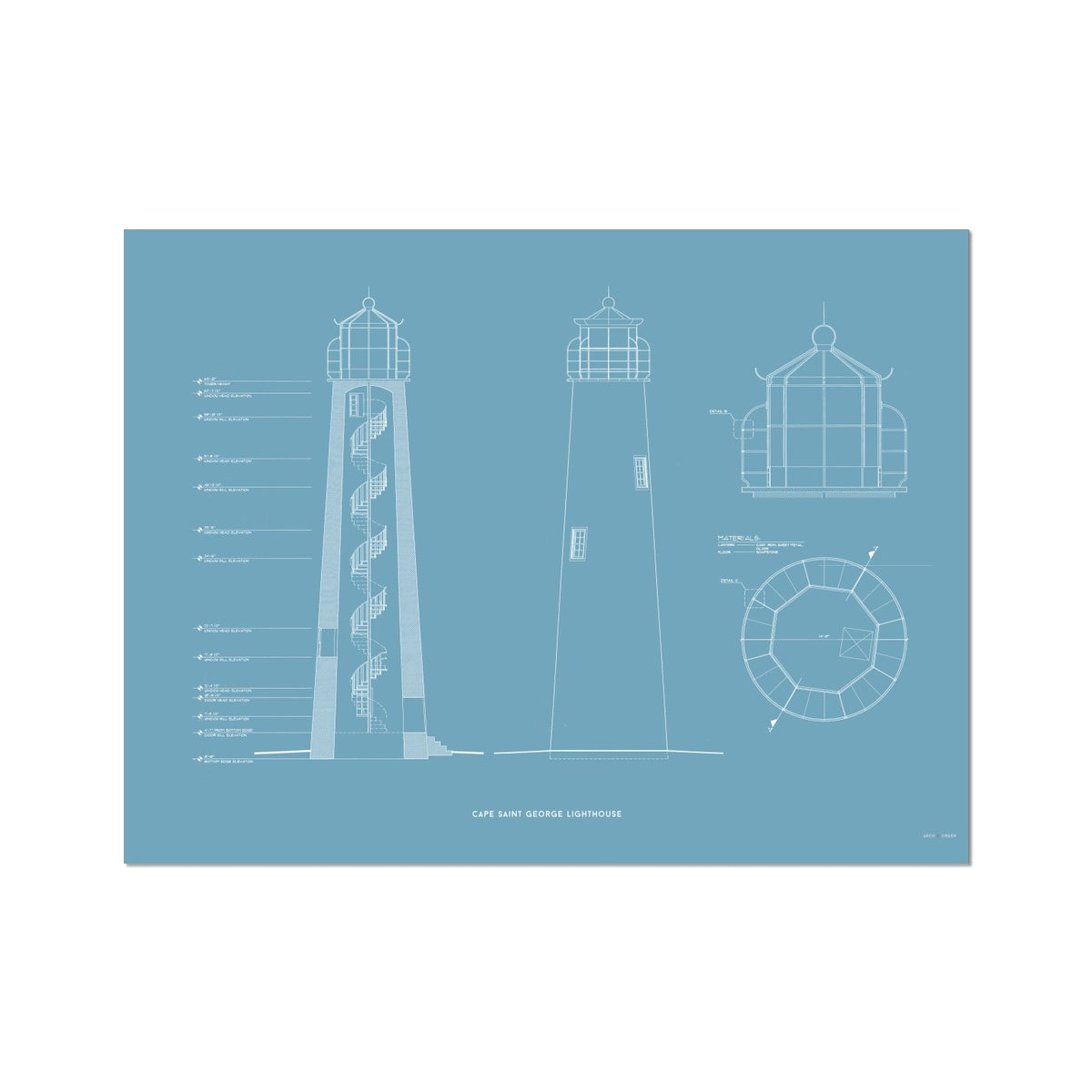 Cape Saint George Lighthouse - Southeast Elevation and Cross Section - Blue - German Etching Print