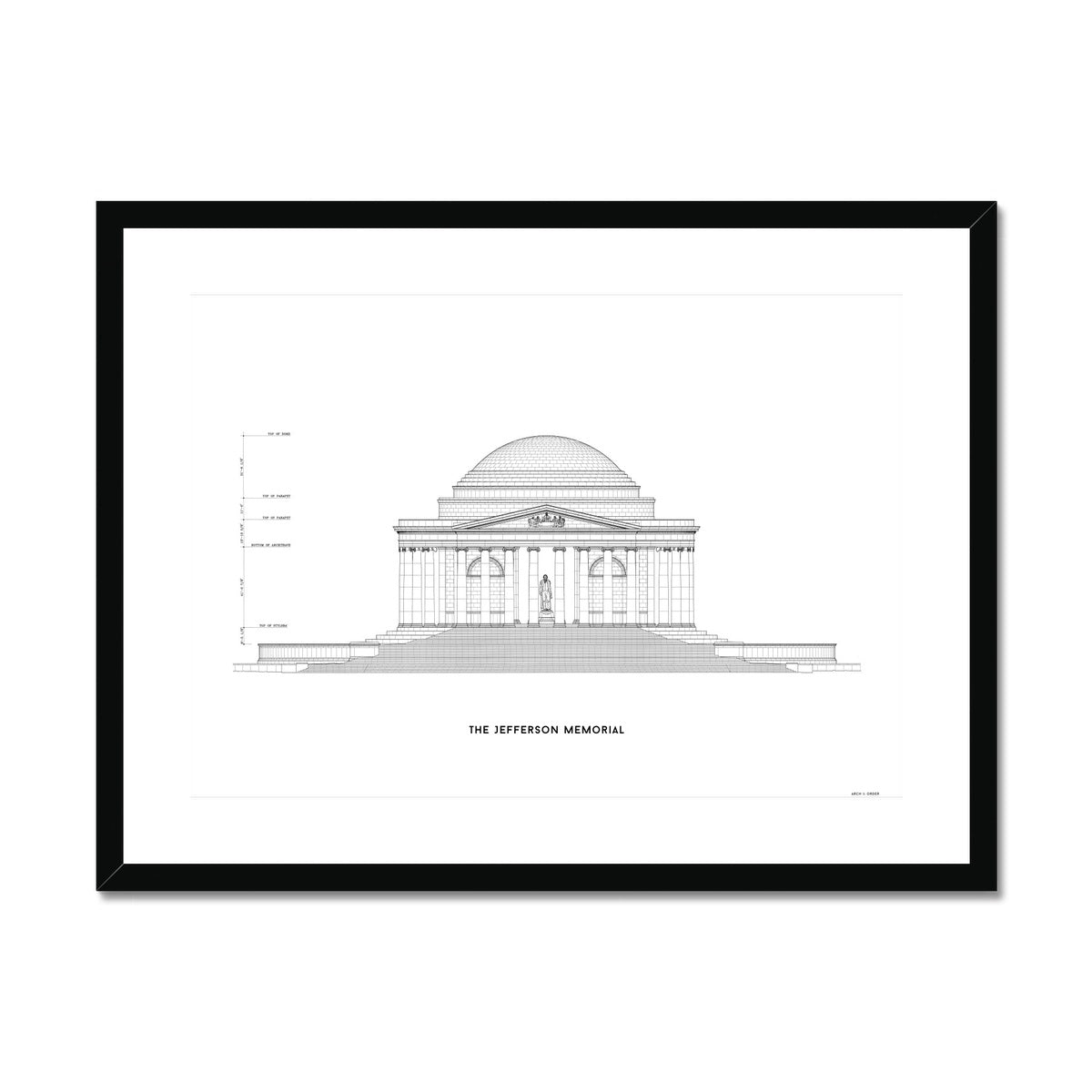 The Jefferson Memorial North Elevation - White -  Framed & Mounted Print