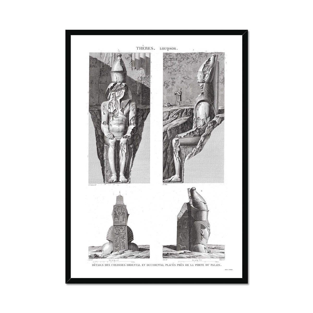Colossi Near the Palace Gate - Luxor - Thebes Egypt -  Framed Print