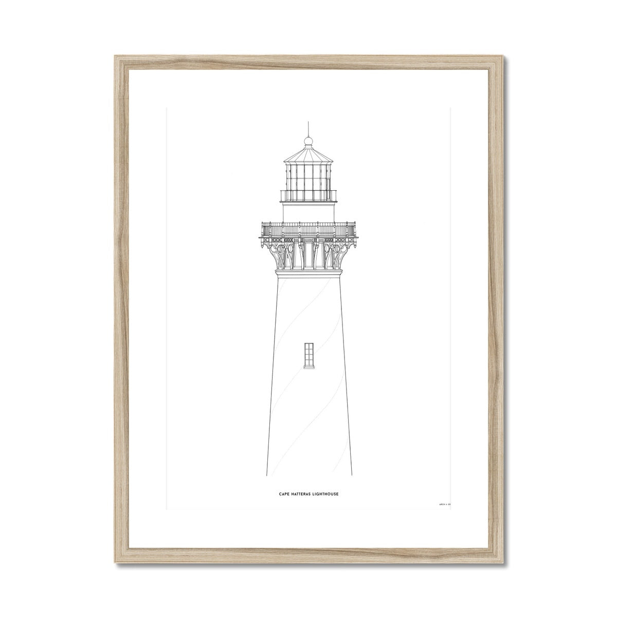 Cape Hatteras Lighthouse - North Elevation Detail - White -  Framed & Mounted Print