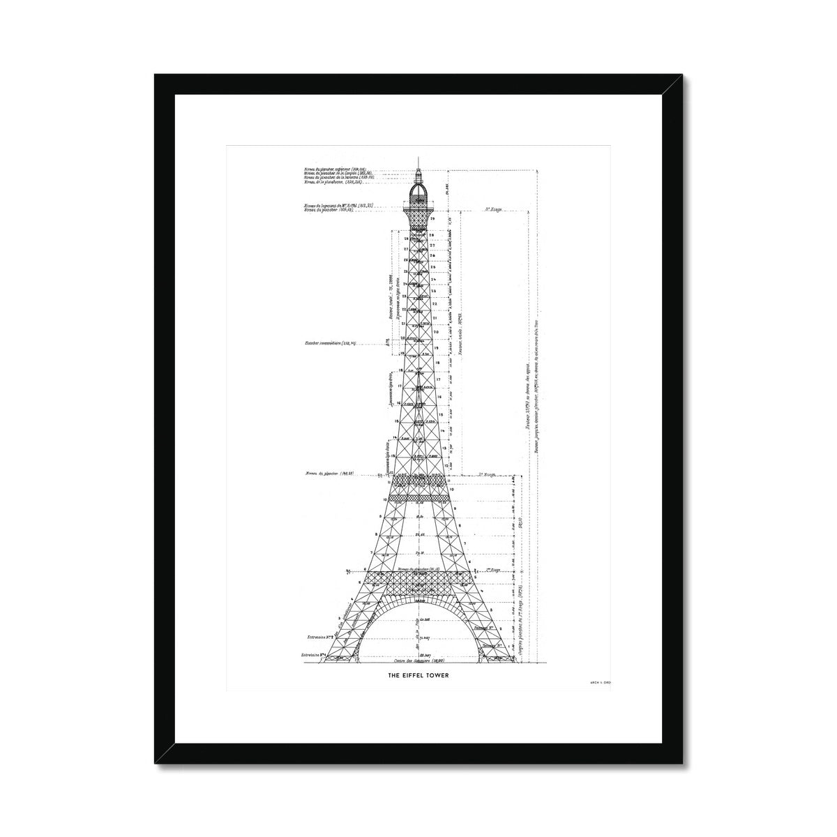 The Eiffel Tower - Structure Elevation - White -  Framed & Mounted Print