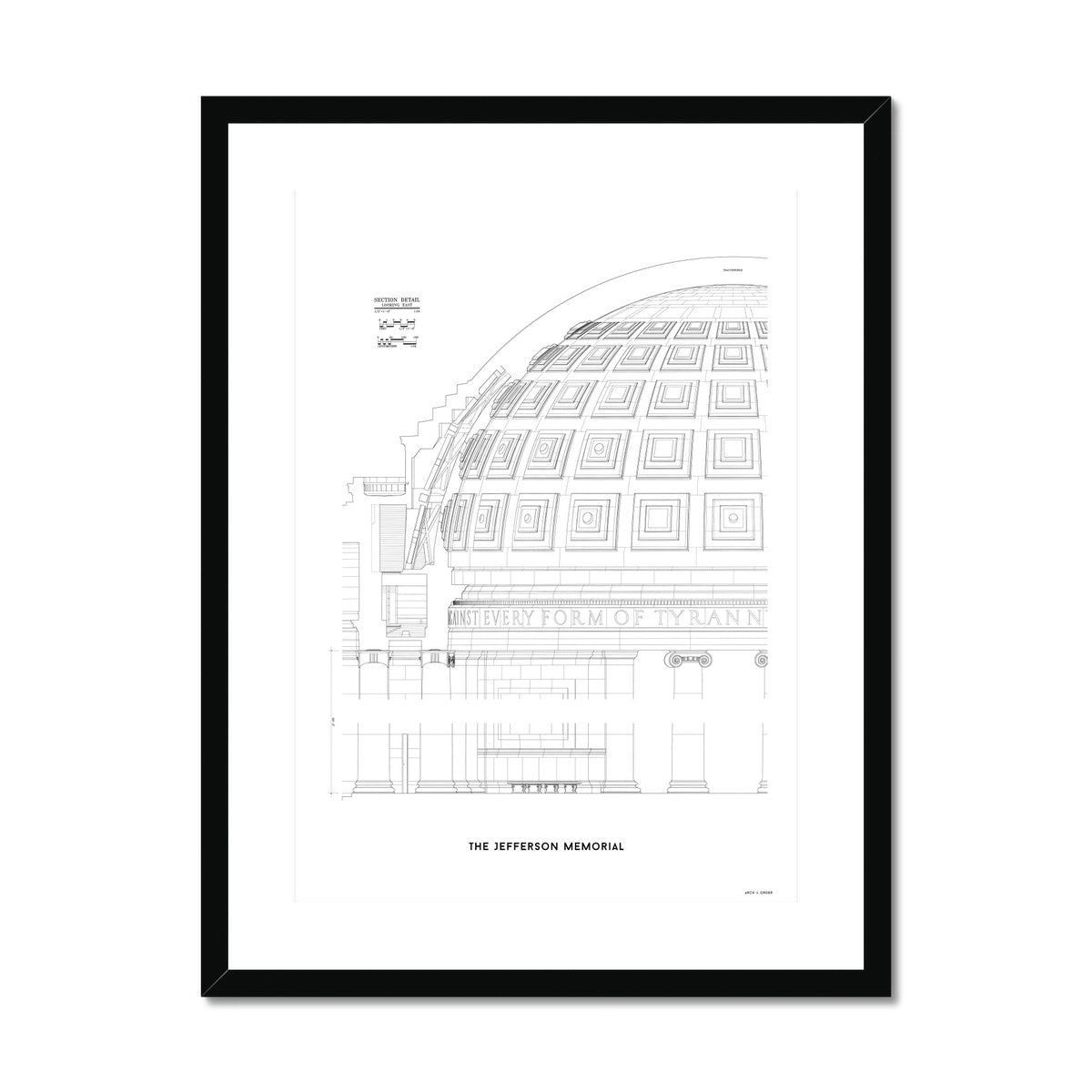 The Jefferson Memorial Section Detail - White -  Framed & Mounted Print