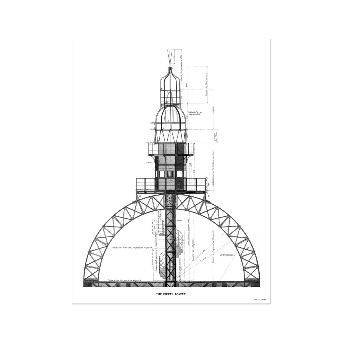 The Eiffel Tower - Top Section - White -  Etching Paper Print