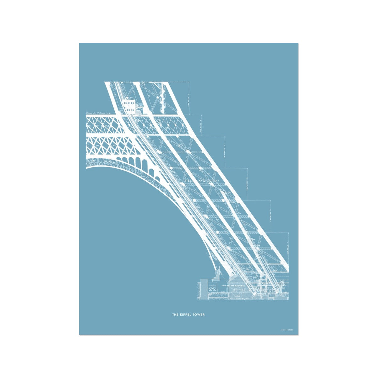 The Eiffel Tower - Base Elevator Section - Blue -  Etching Paper Print