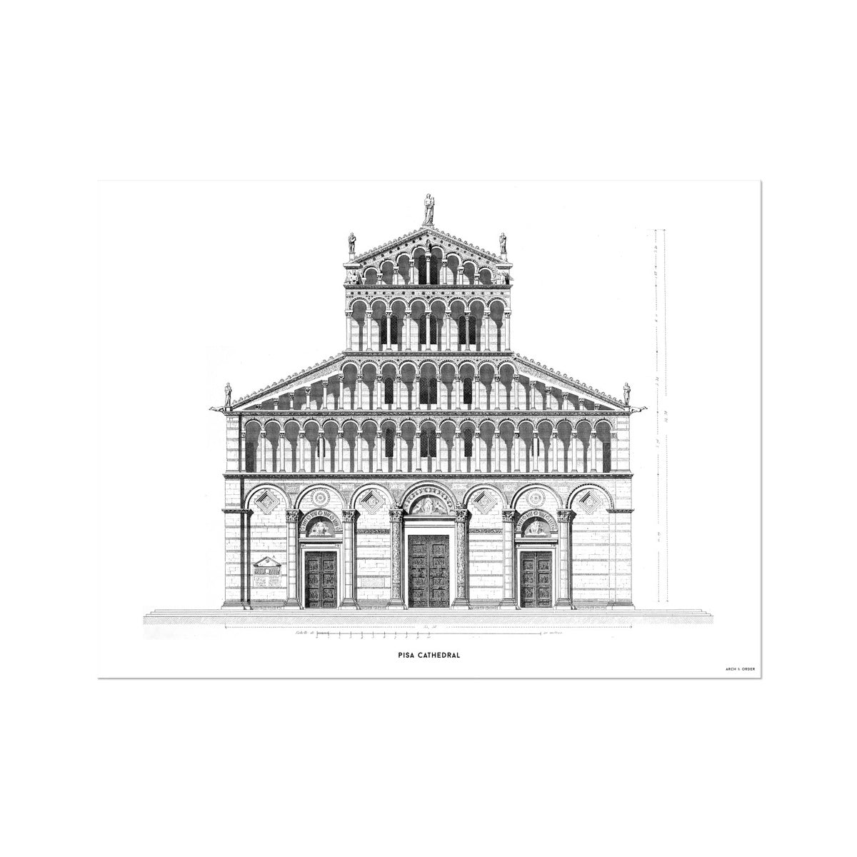 Pisa Cathedral - Primary Elevation - White -  Etching Paper Print