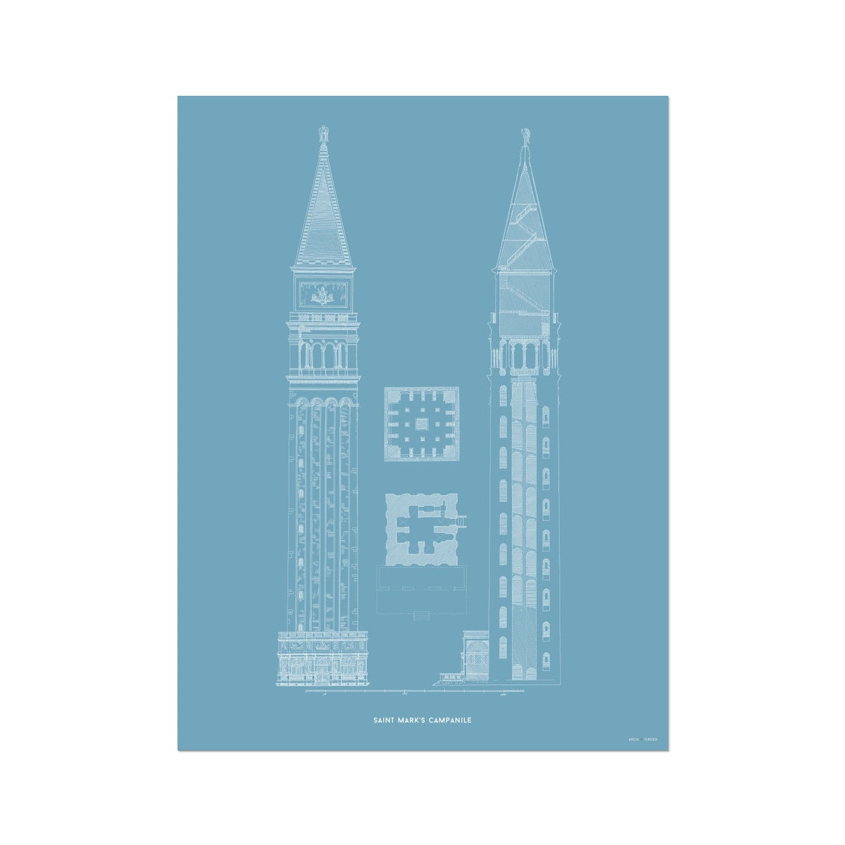 Saint Mark's Campanile - Primary Elevation - Blue -  Etching Paper Print