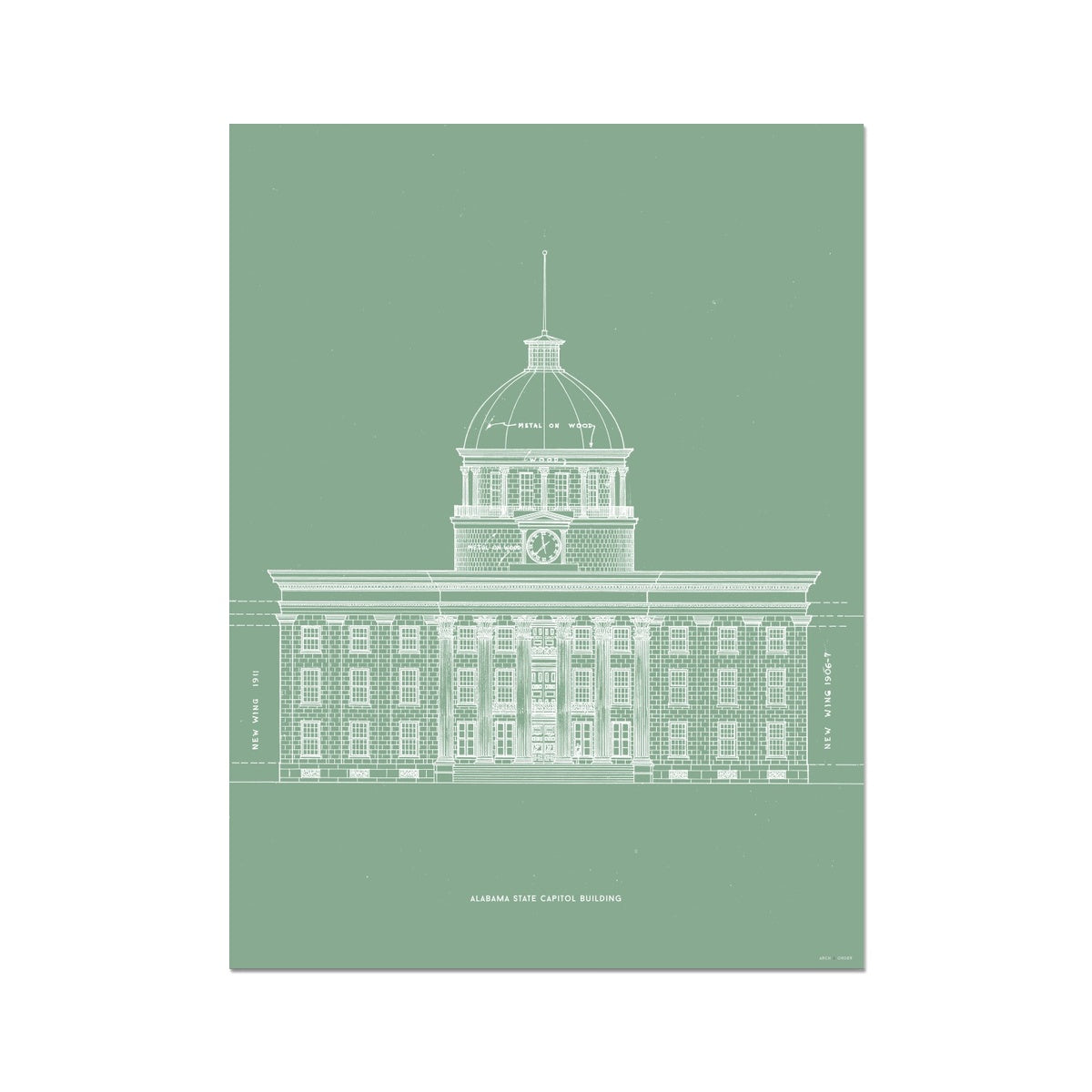The Alabama State Capitol Building - West Elevation - Green -  Etching Paper Print