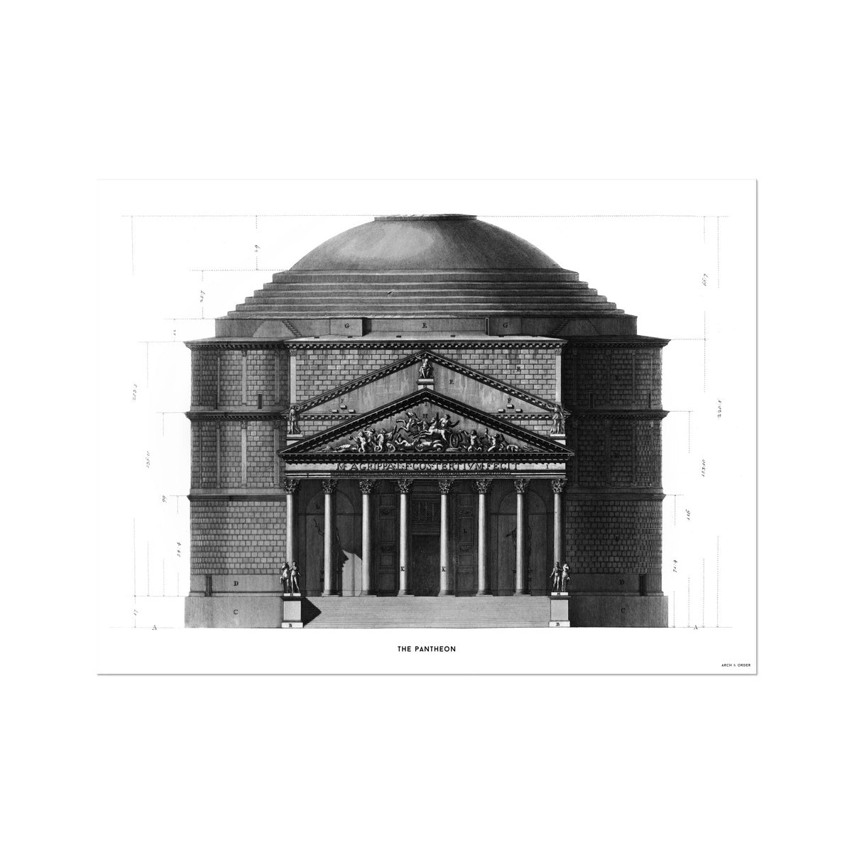 The Pantheon - Primary Elevation -  Etching Paper Print
