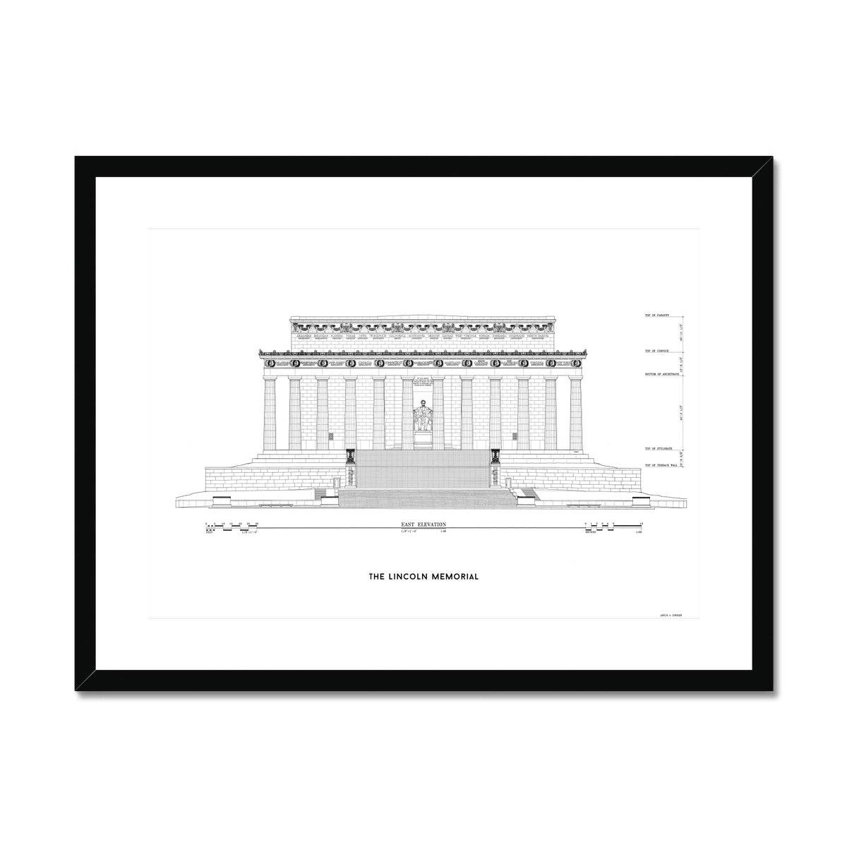 Lincoln Memorial East Elevation - White -  Framed & Mounted Print
