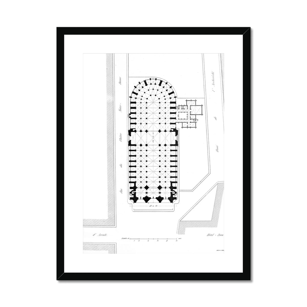 Notre Dame de Paris - Site Plan - White -  Framed & Mounted Print