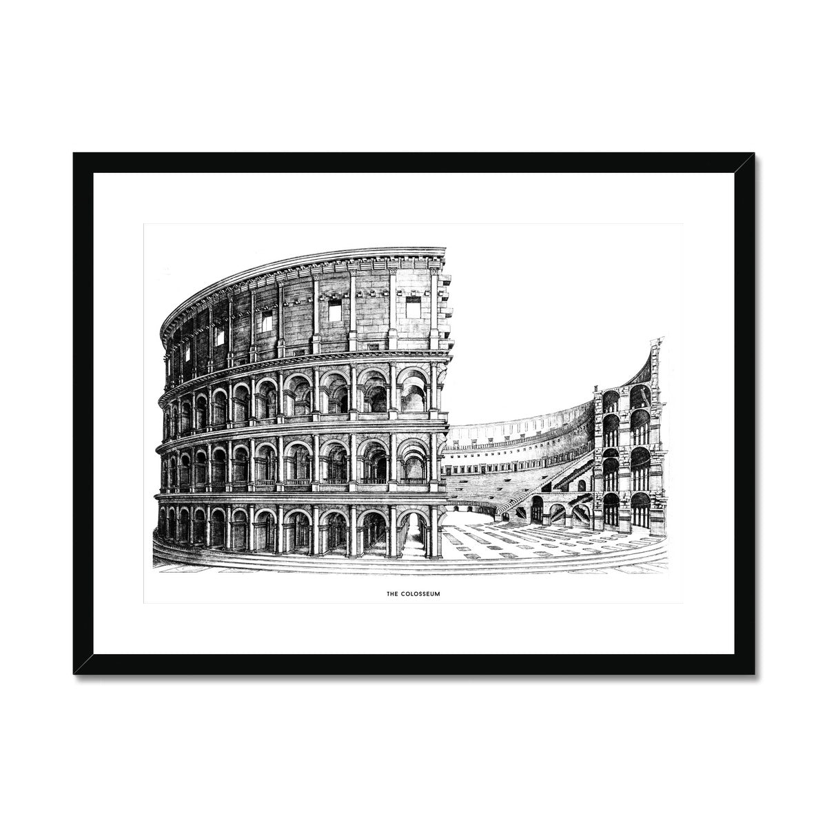 The Colosseum - Alternative Cross Section - White -  Framed & Mounted Print