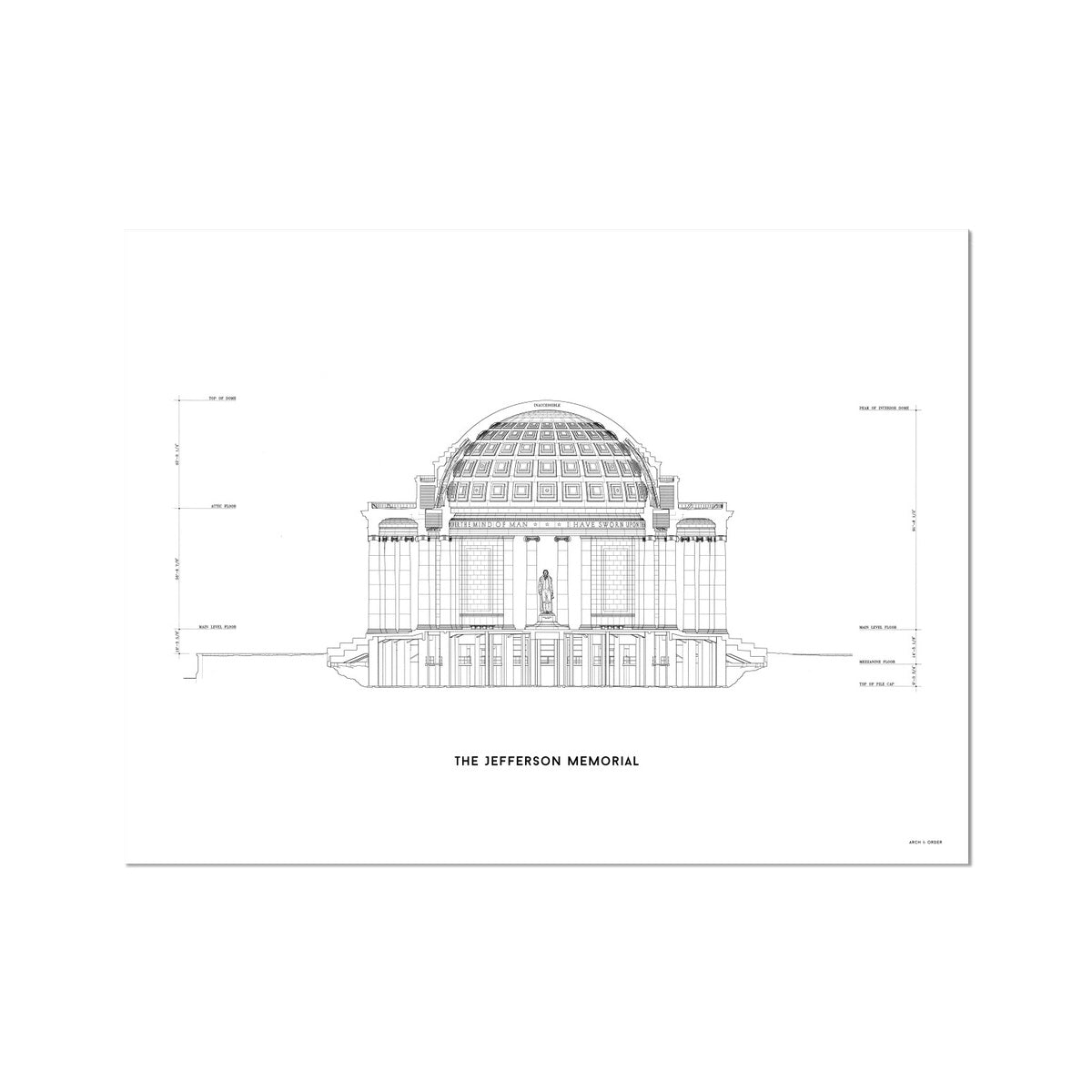 The Jefferson Memorial North Elevation Cross Section - White -  Etching Paper Print
