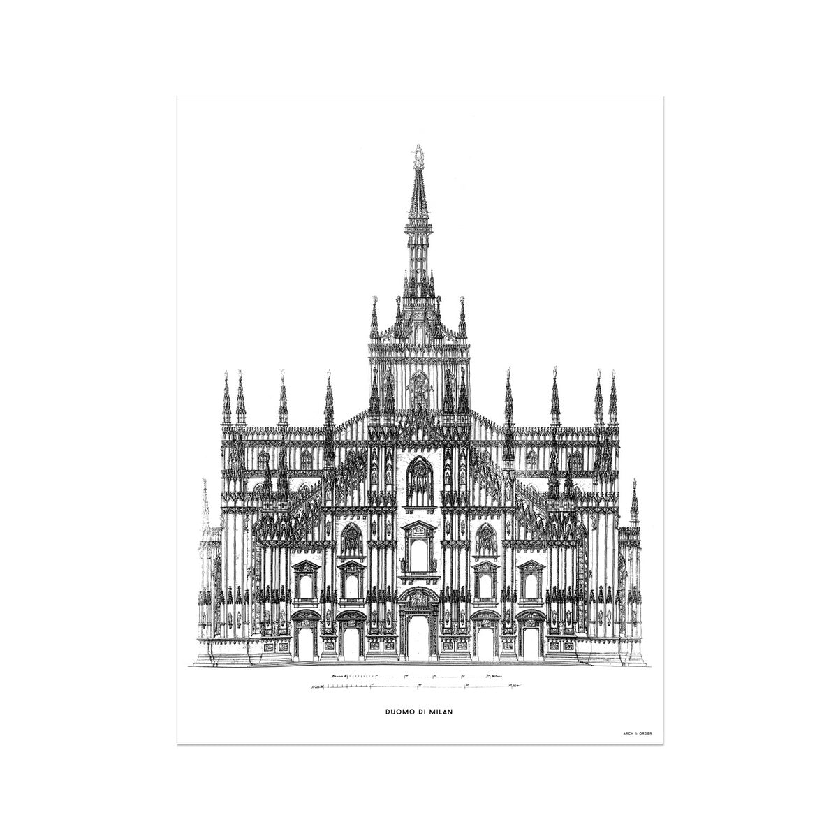 The Milan Cathedral - Alternative Primary Elevation - White -  Etching Paper Print