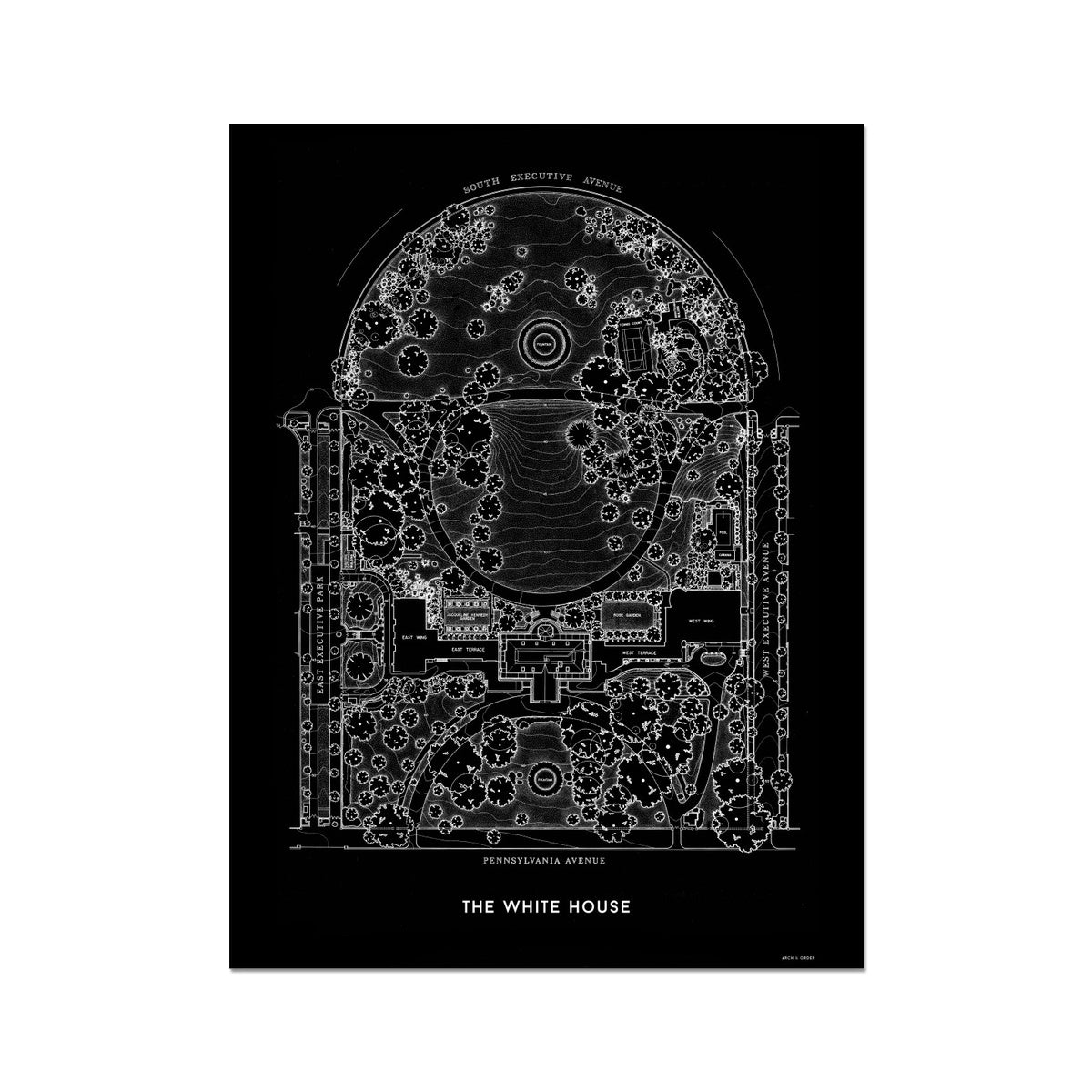 The White House Site Plan - Black -  Etching Paper Print