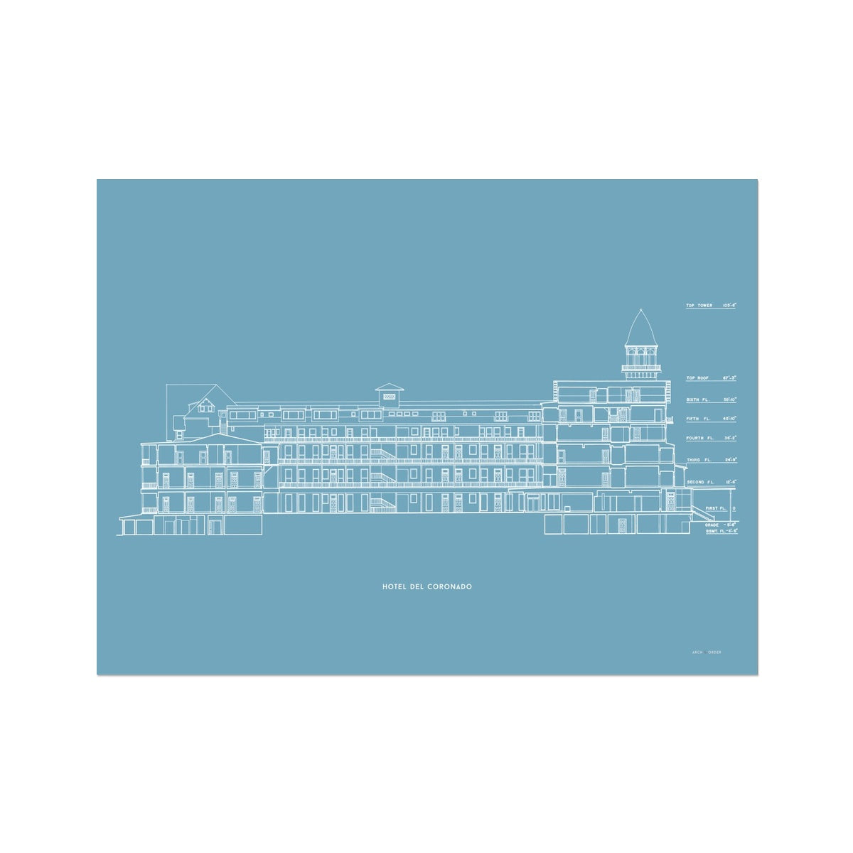 Hotel Del Coronado - Cross Section - Blue -  Etching Paper Print