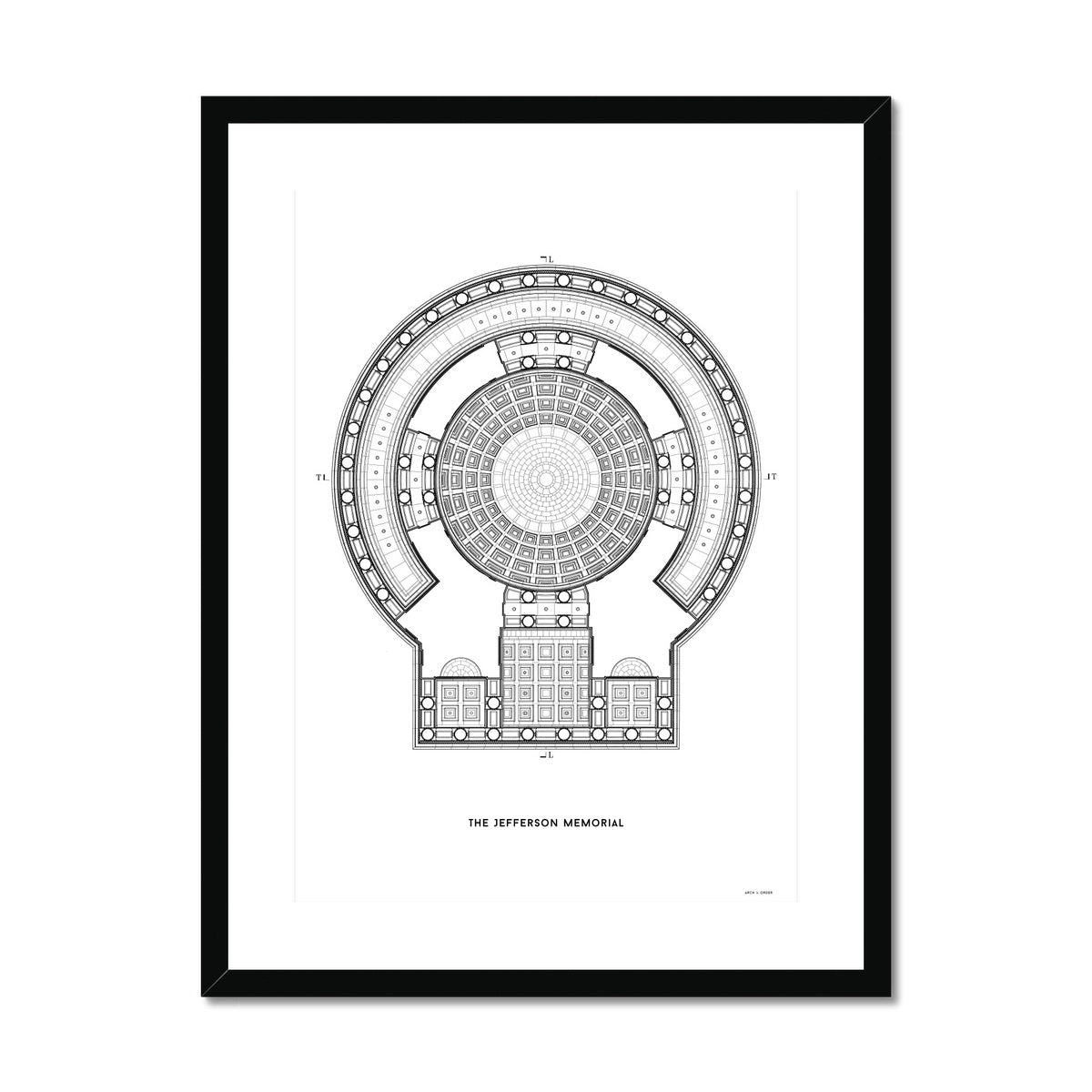 The Jefferson Memorial Reverse Ceiling Detail - White -  Framed & Mounted Print