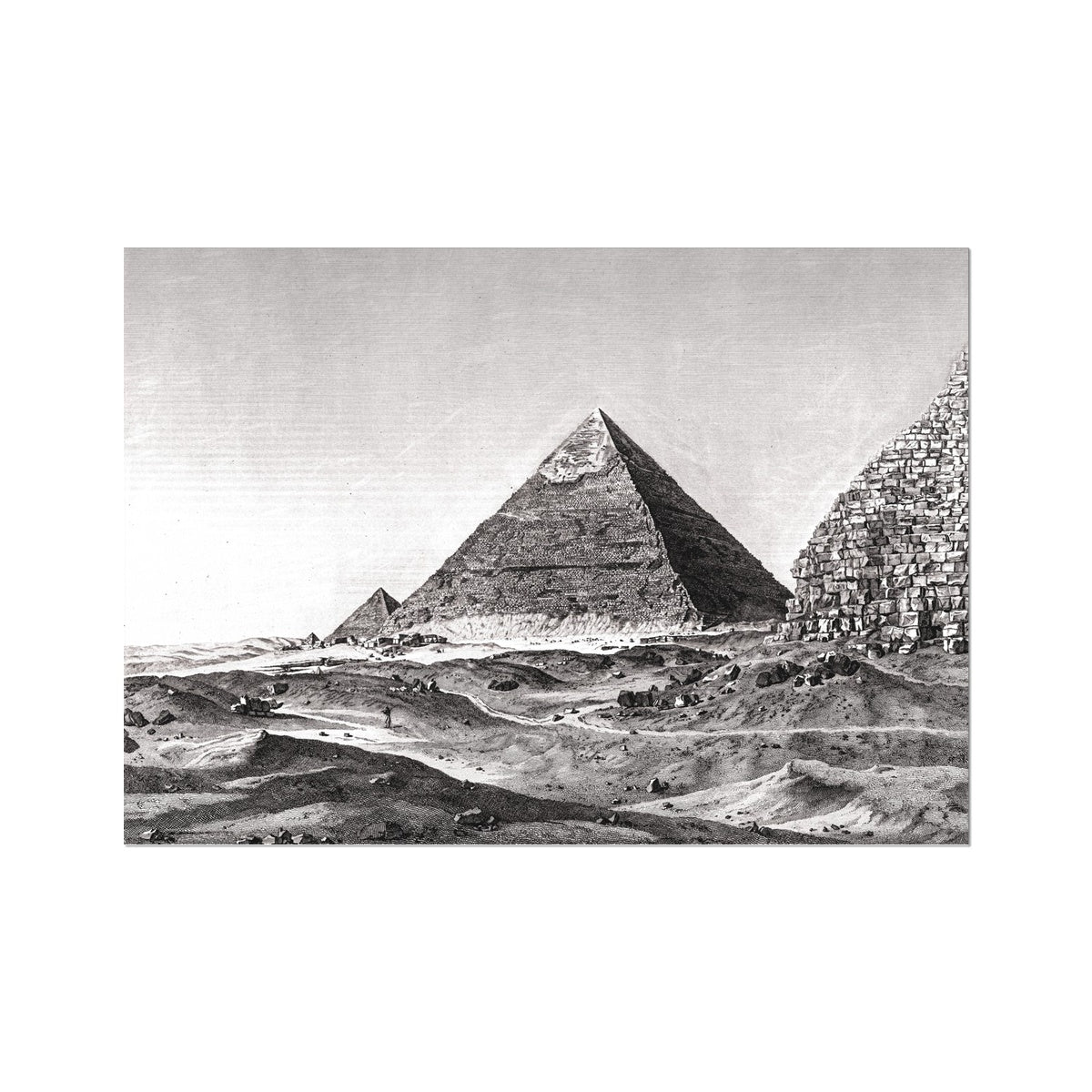 View of the Second Pyramid - Memphis Egypt -  Etching Paper Print