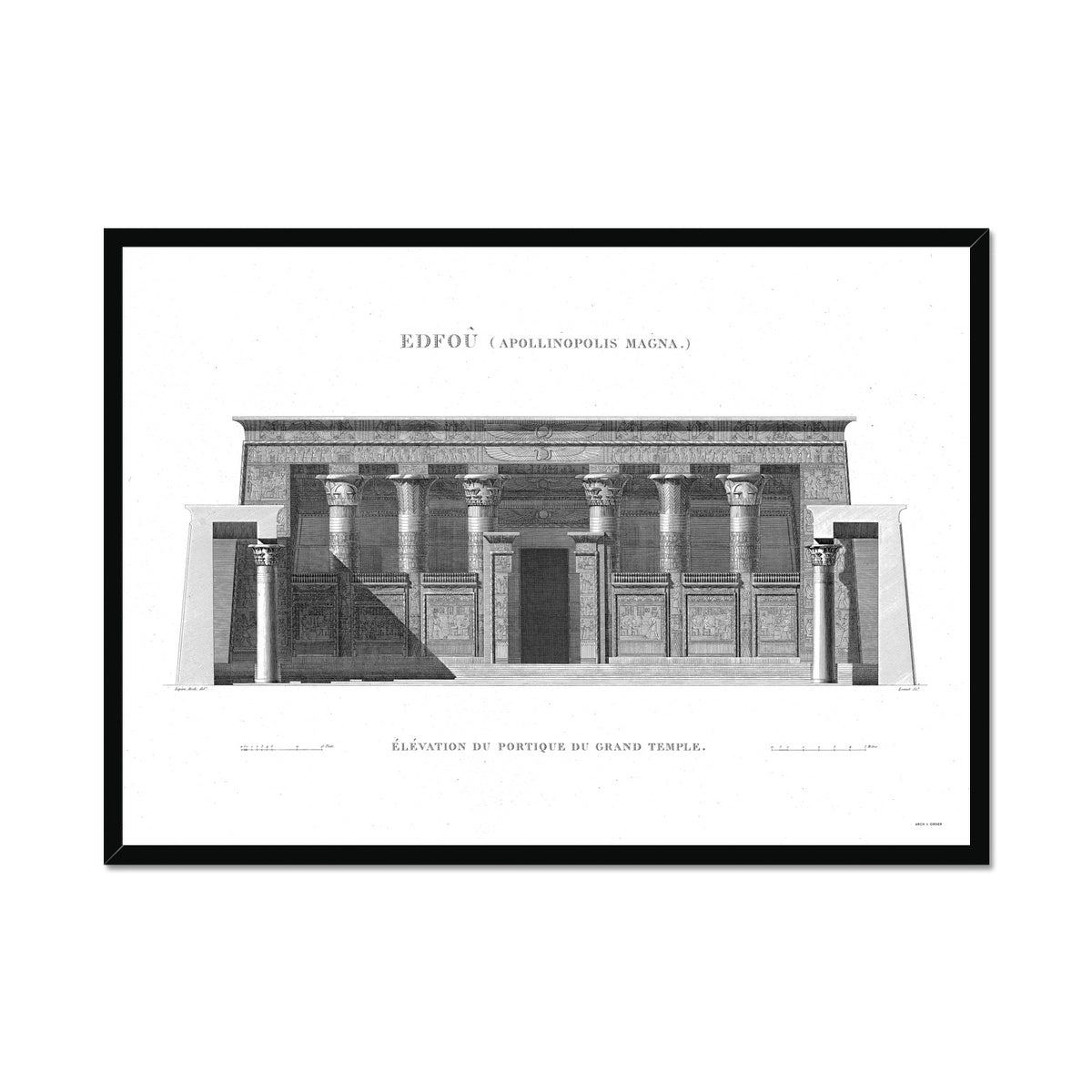 Temple of Horus Portico Detail - Edfu Egypt -  Framed Print