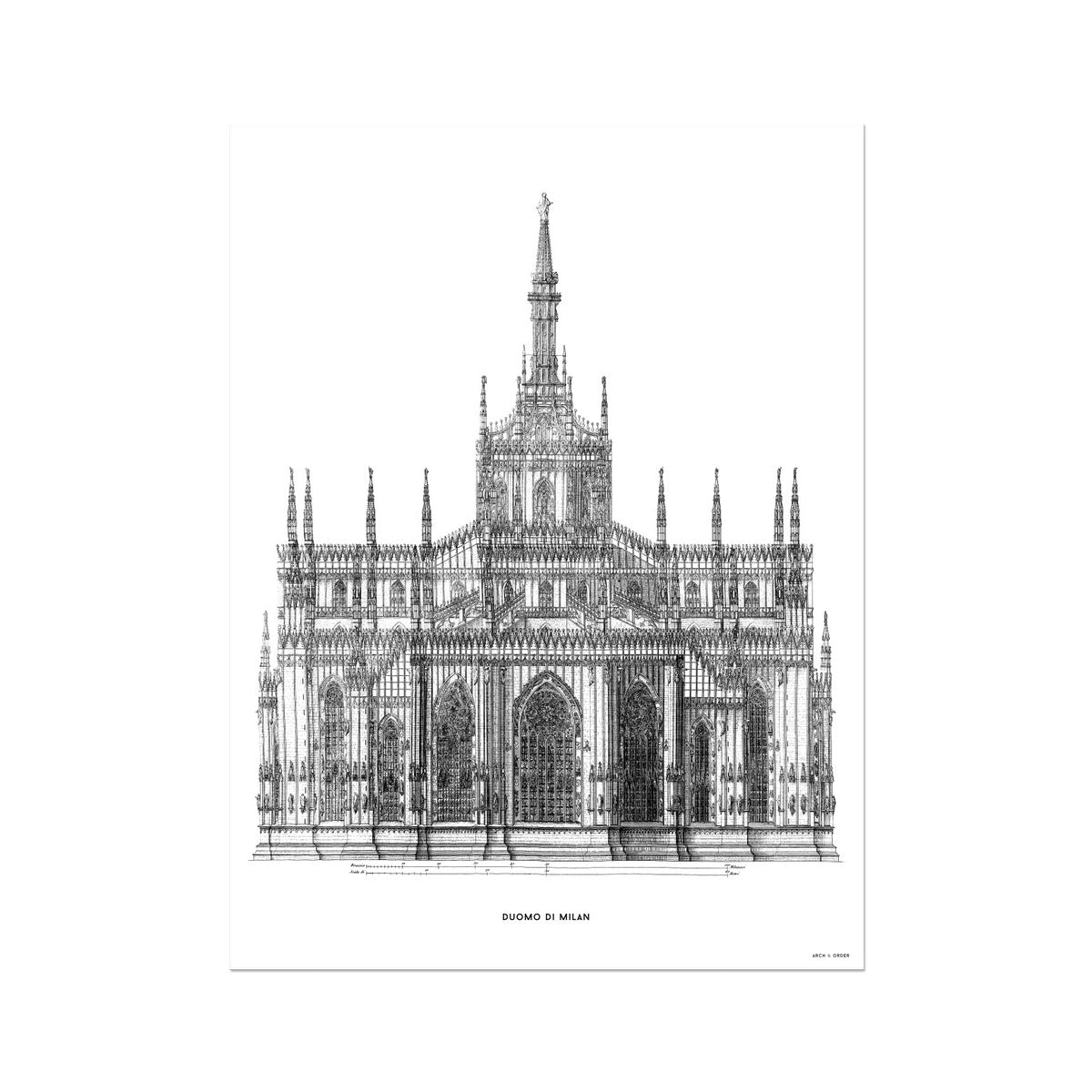 The Milan Cathedral - Primary Elevation - White -  Etching Paper Print